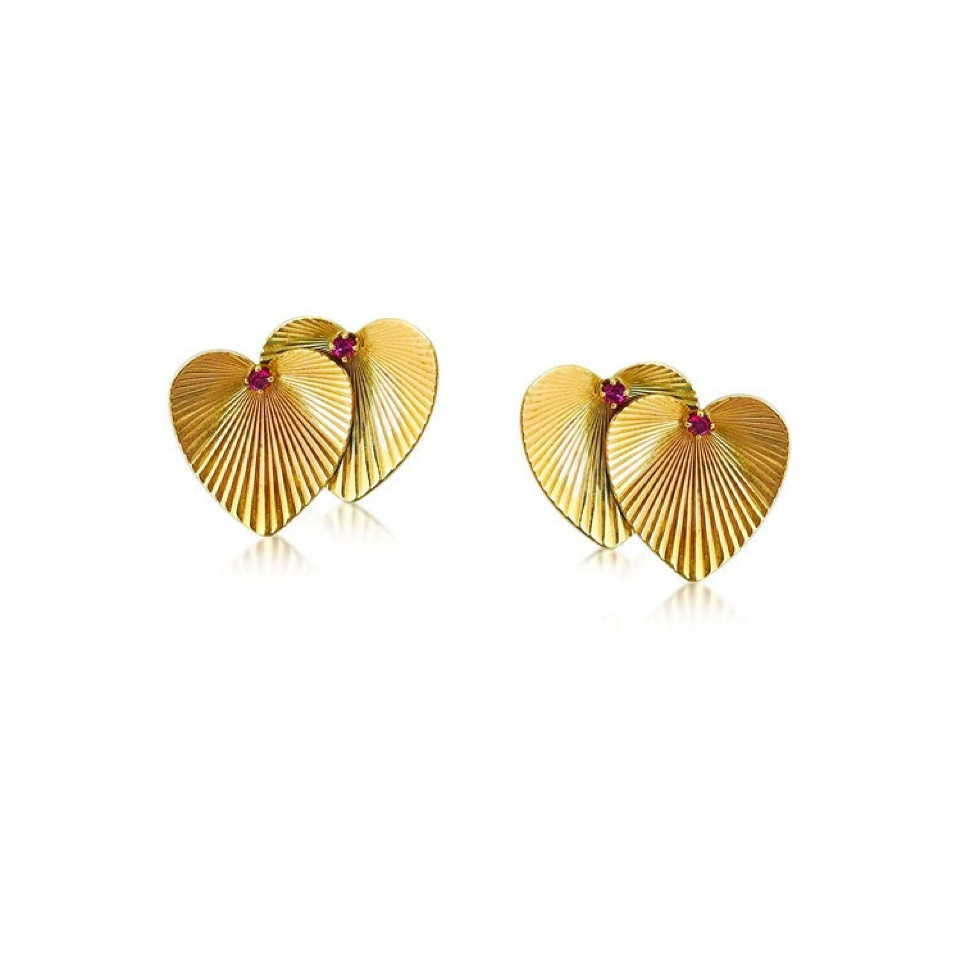 A PAIR OF DOUBLE HEART GOLD EARRINGS, BY TIFFANY & CO