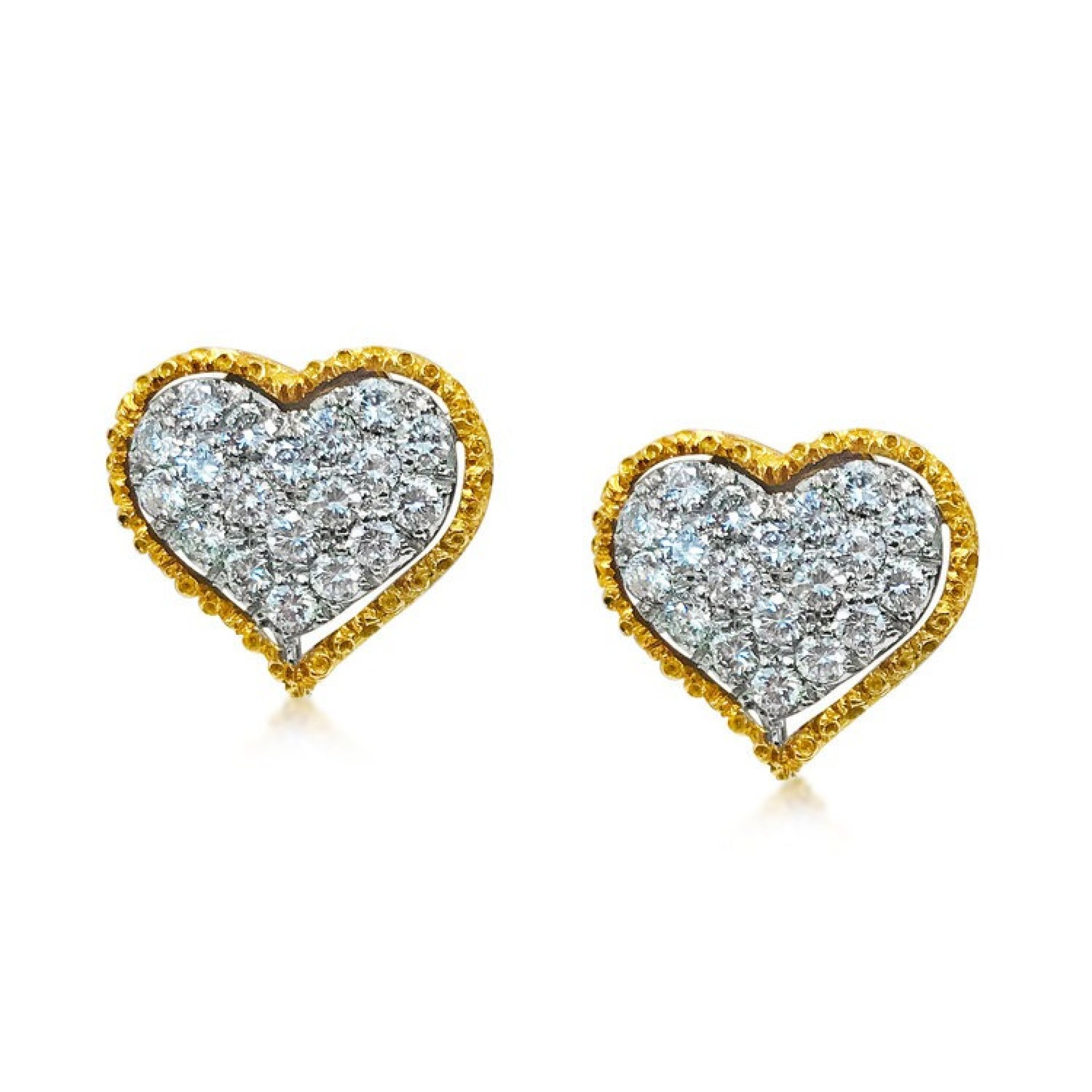 A PAIR OF HEART-SHAPED GOLD AND DIAMOND EARRINGS