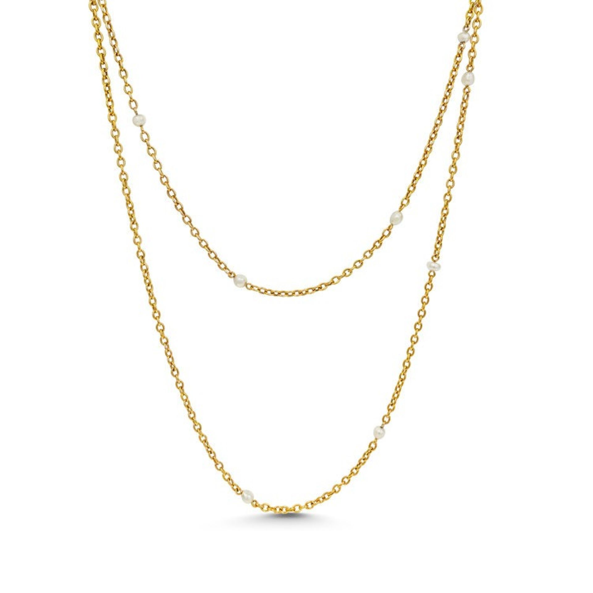 A YELLOW GOLD AND PEARL SAUTOIR