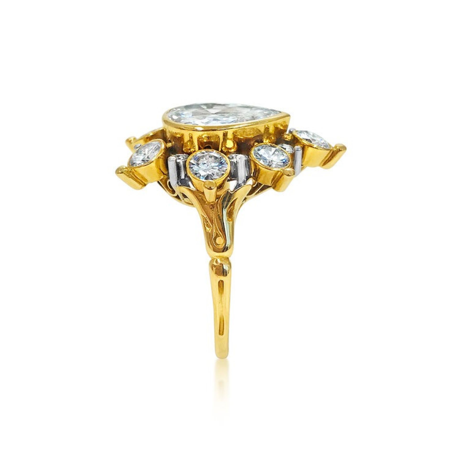 "AN 18K GOLD AND ""PAMPILLE"" DIAMOND RING, BY RENE BOIVIN."