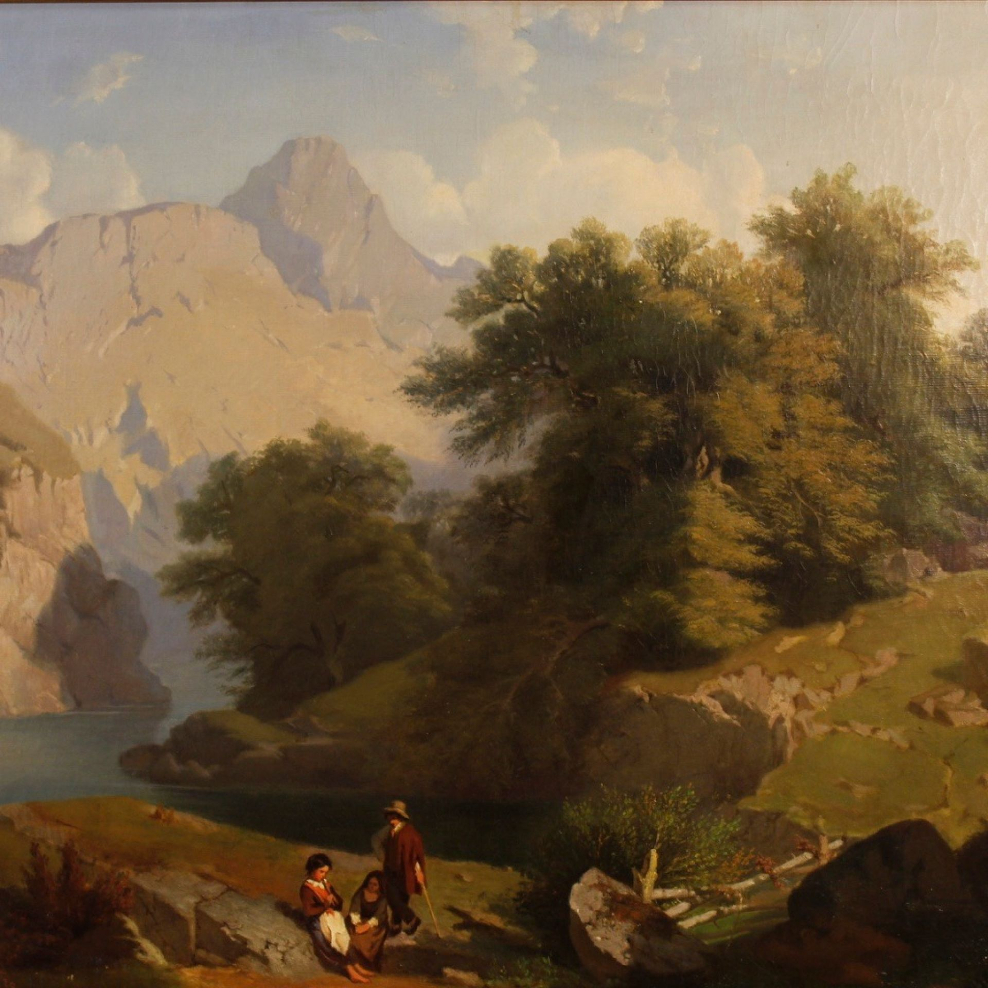 Carlo Piacenza 19th Century Oil on Canvas Italian Signed Landscape Painting 1855