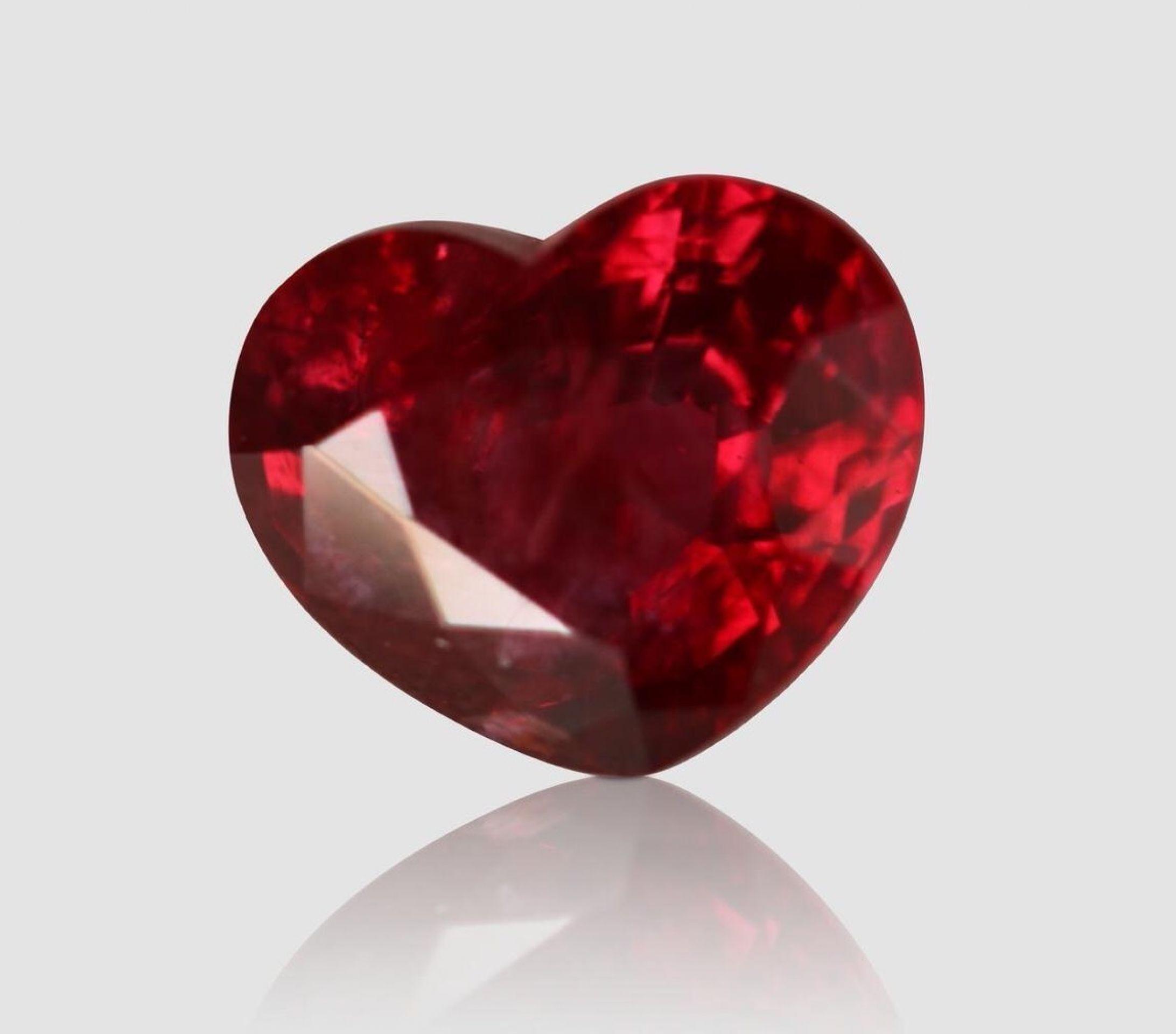 HEART-SHAPED VIVID RED RUBY, 2.27 CARATS, UNHEATED (GRS)