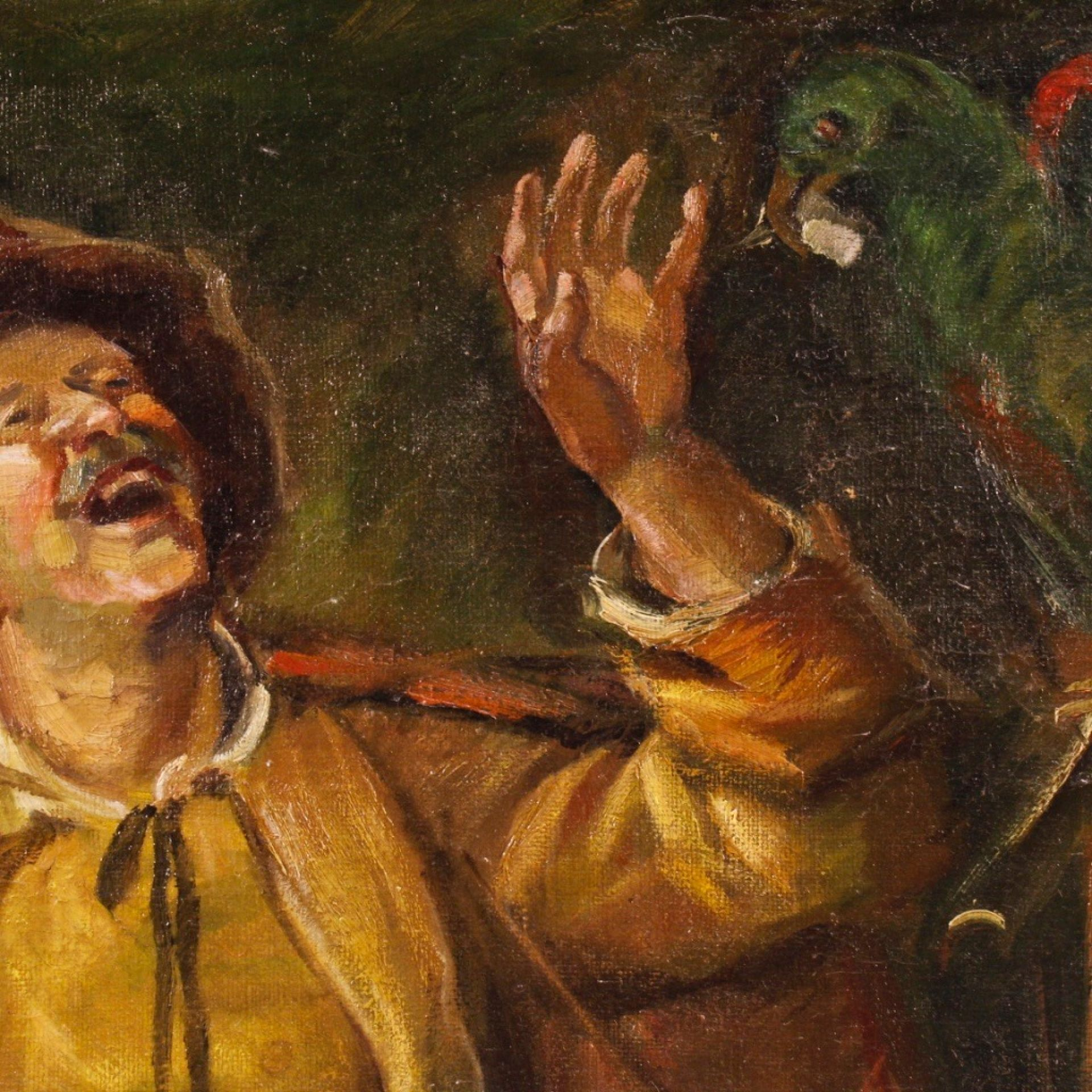 20th Century Oil On Canvas Hungarian Painting Character With Parrot, 1940