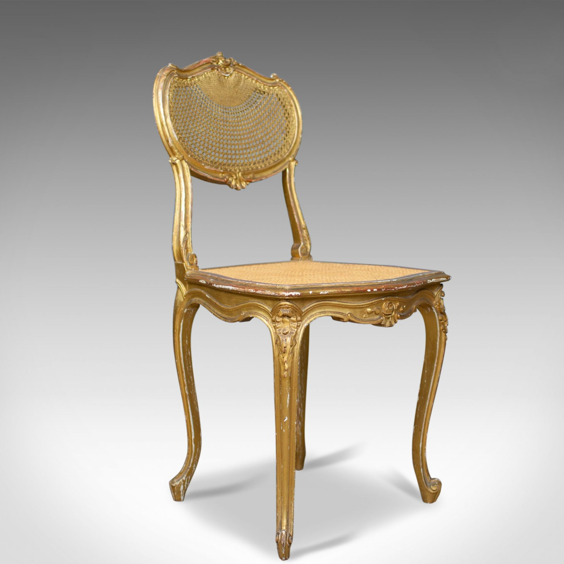 Antique Louis XV Revival Salon Chairs, French, Giltwood, Cane, C19th, Circa 1900