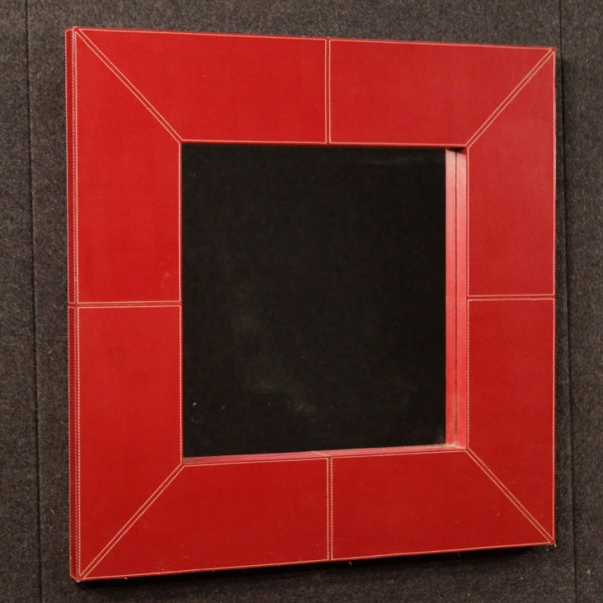 20th Century Red Italian Faux Leather Design Mirror, 1980