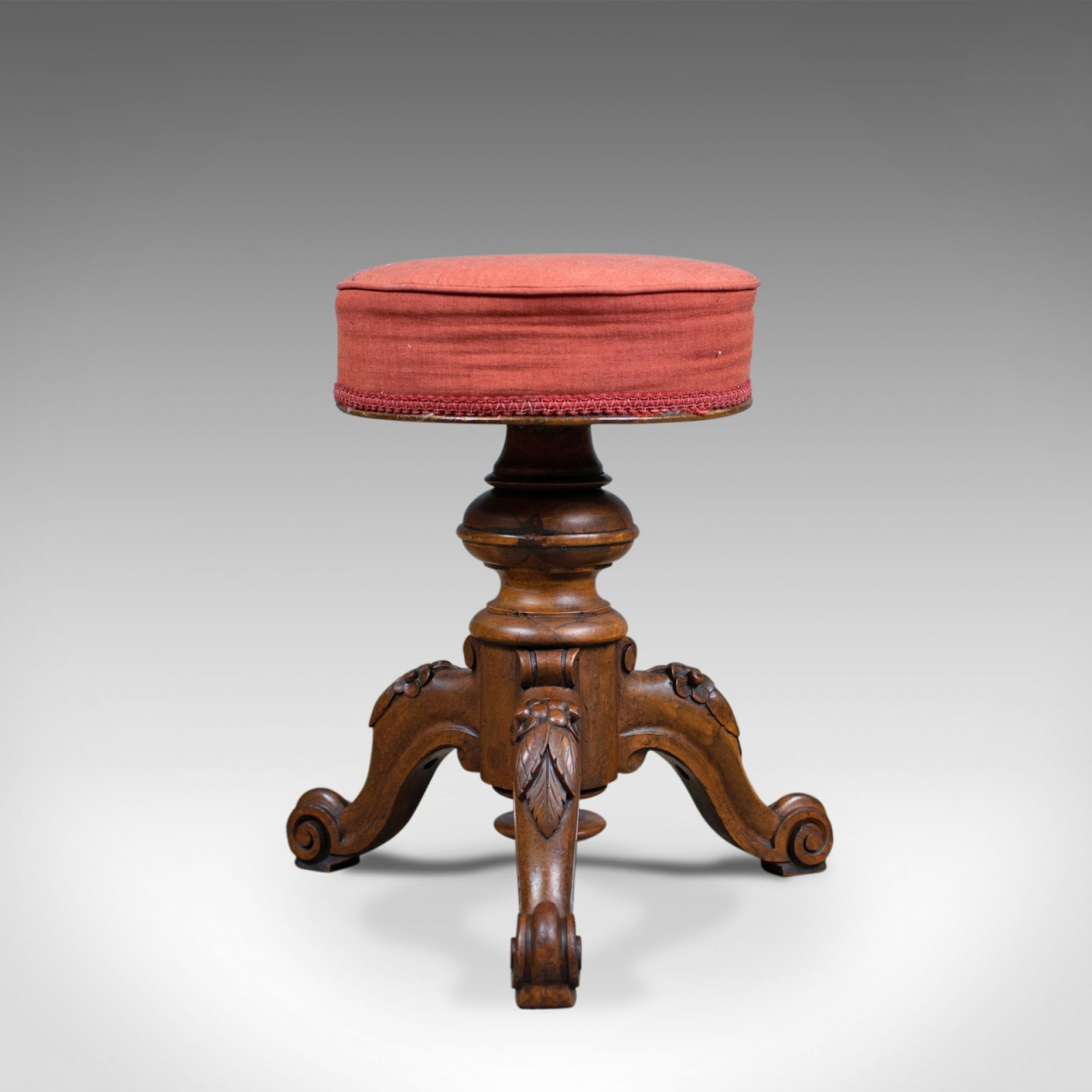 Antique Piano Stool, Walnut, Adjustable, English, Victorian, Seat Circa 1860