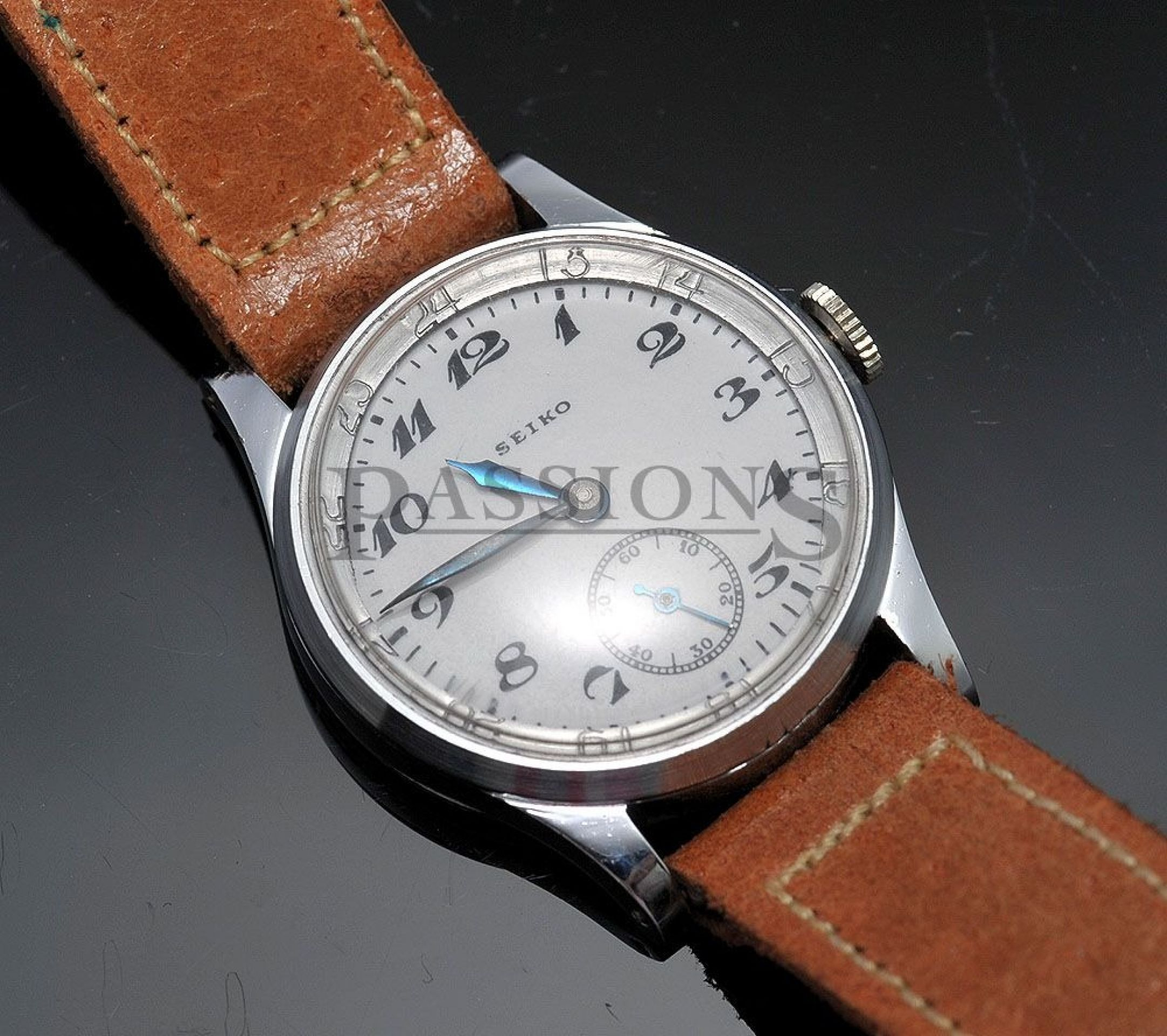 Seikosha, C.1920-30s military watch with enamel dial in Nickeled case