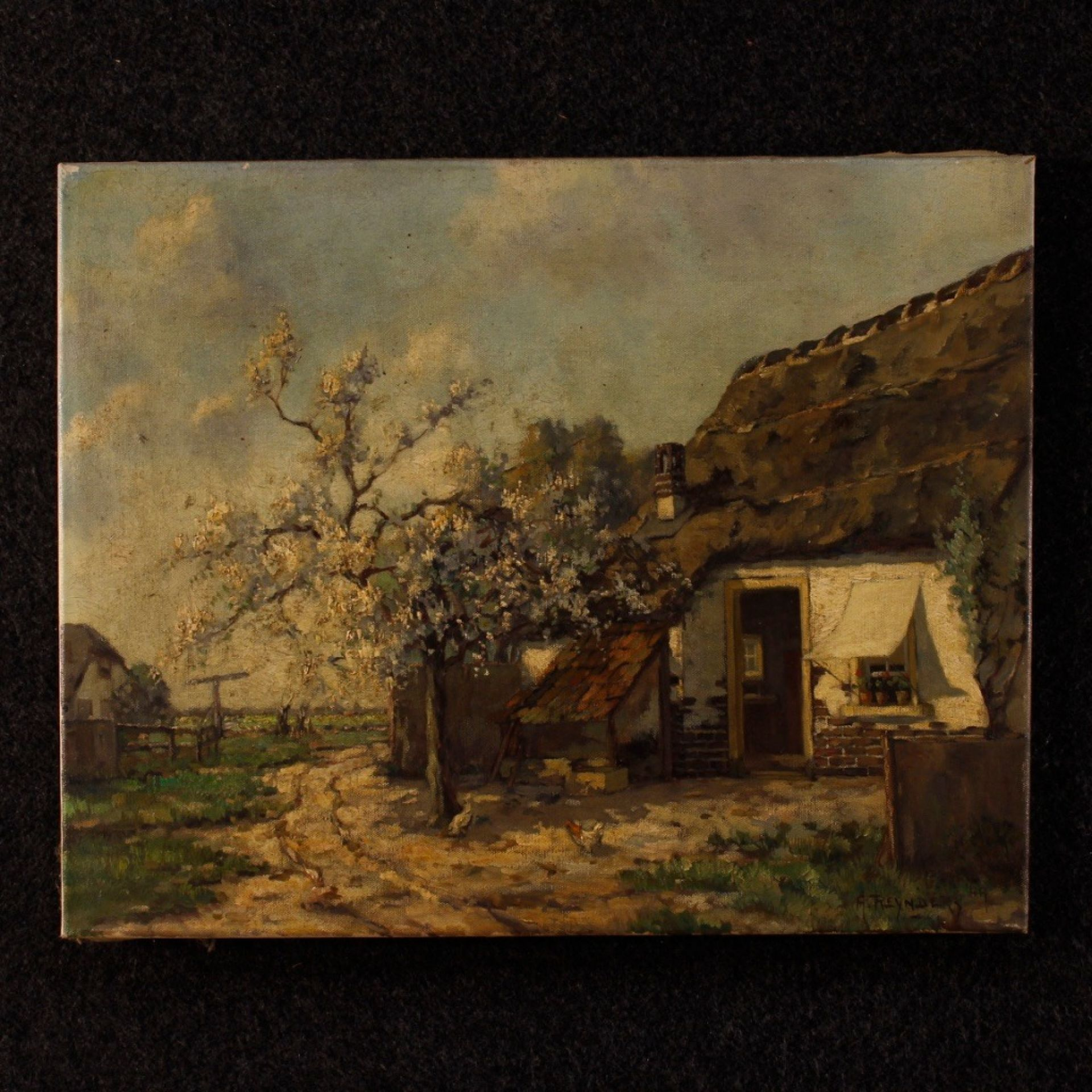 20th Century Oil On Canvas Dutch Signed Landscape Painting, 1950