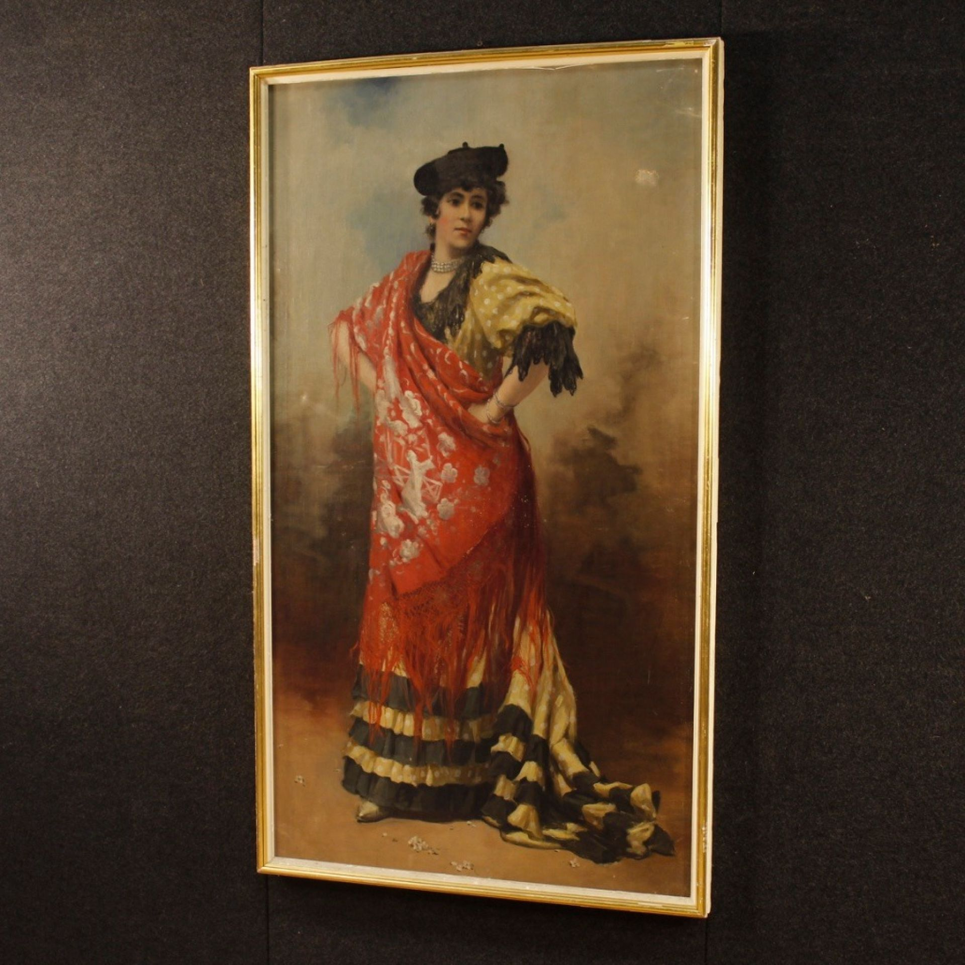 19th Century Oil On Canvas Spanish Dancer Portrait Painting, 1890