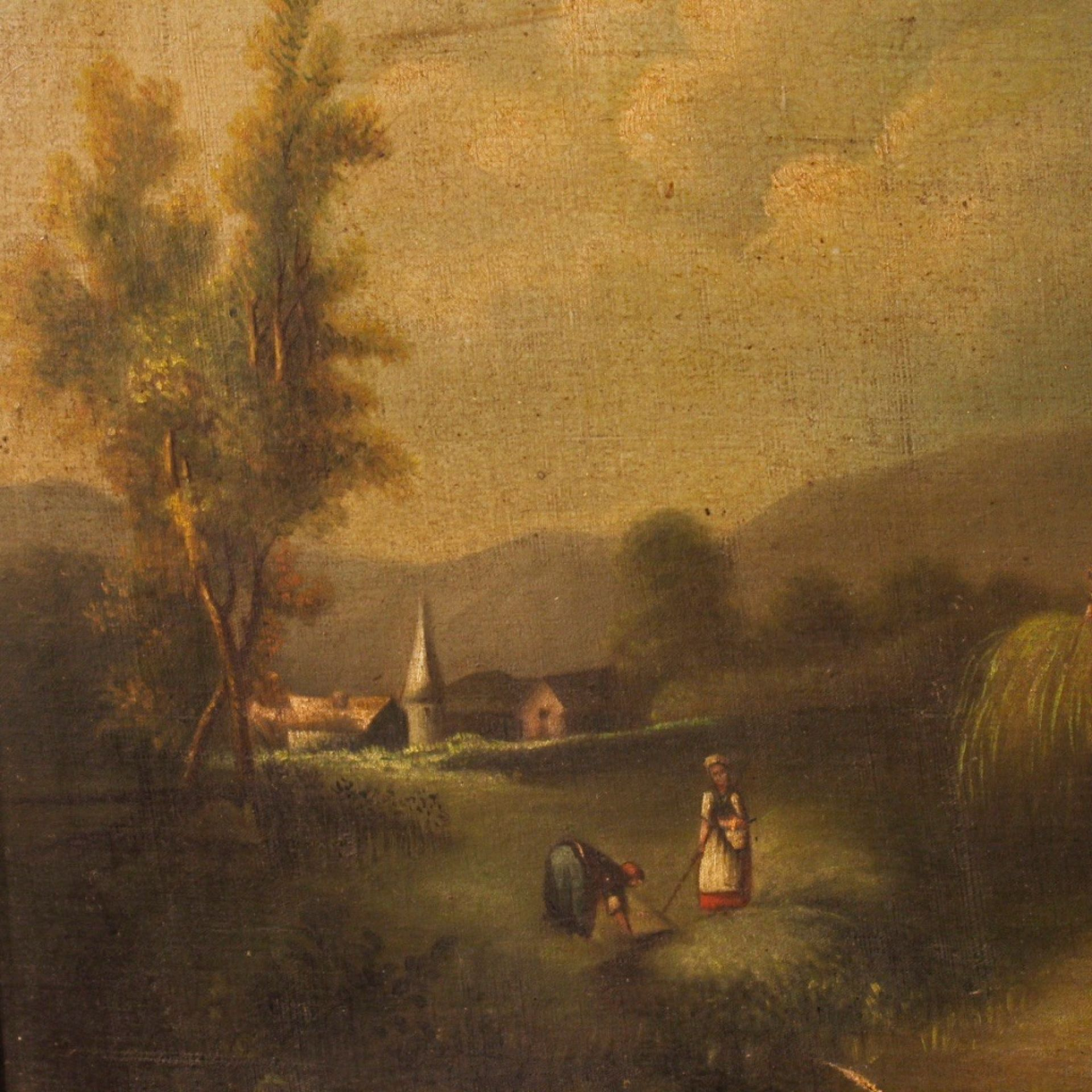 19th Century Oil On Canvas Antique Spanish Signed Landscape Painting, 1880