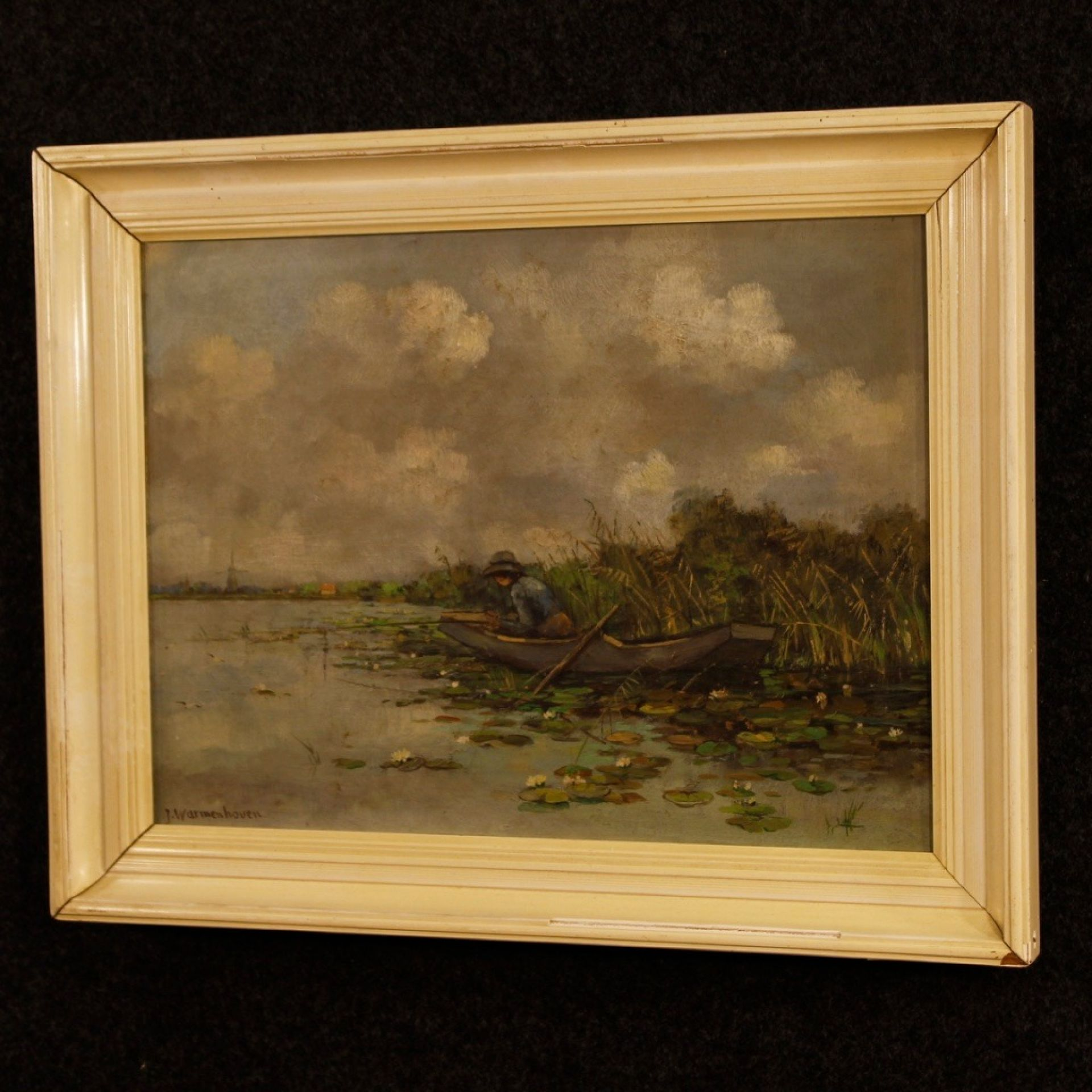 20th Century Oil On Canvas Dutch Signed Painting With Landscape, 1928