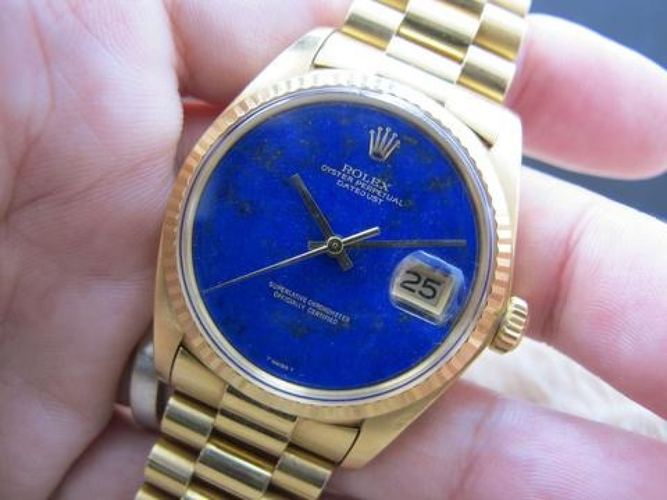 1974 ROLEX DATEJUST 1601 18K YG WITH ORIGINAL LAPIS DIAL WITH PRESIDENT BAND
