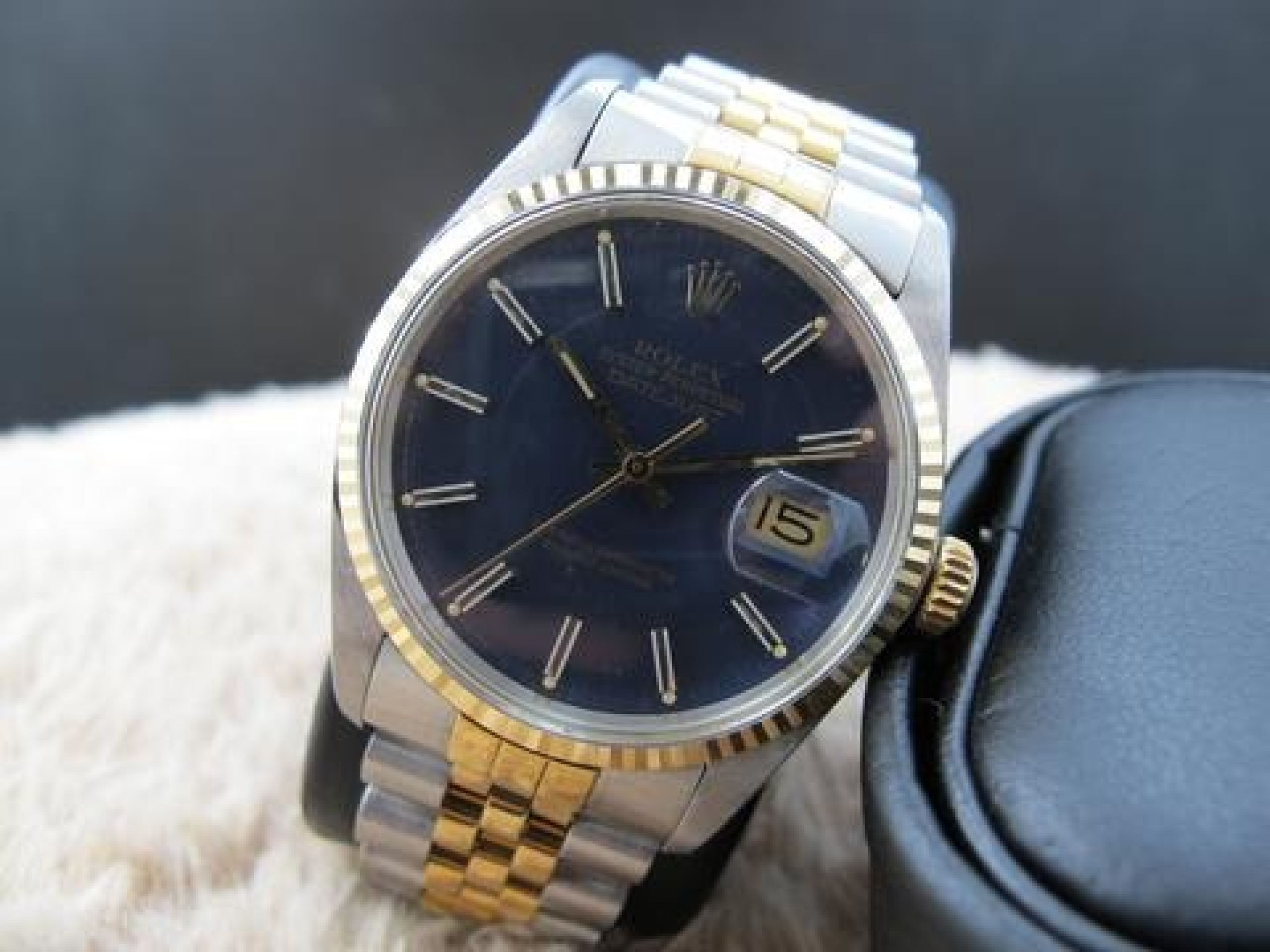 1982 ROLEX DATEJUST 16013 2-TONE ORIGINAL MATT BLUE STICK DIAL
