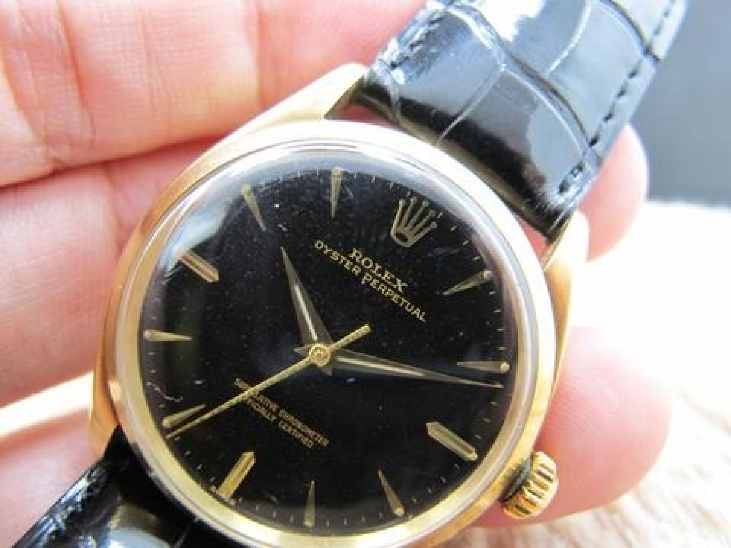 1959 ROLEX OYSTER PERPETUAL 1005 14K YELLOW GOLD GILT DIAL