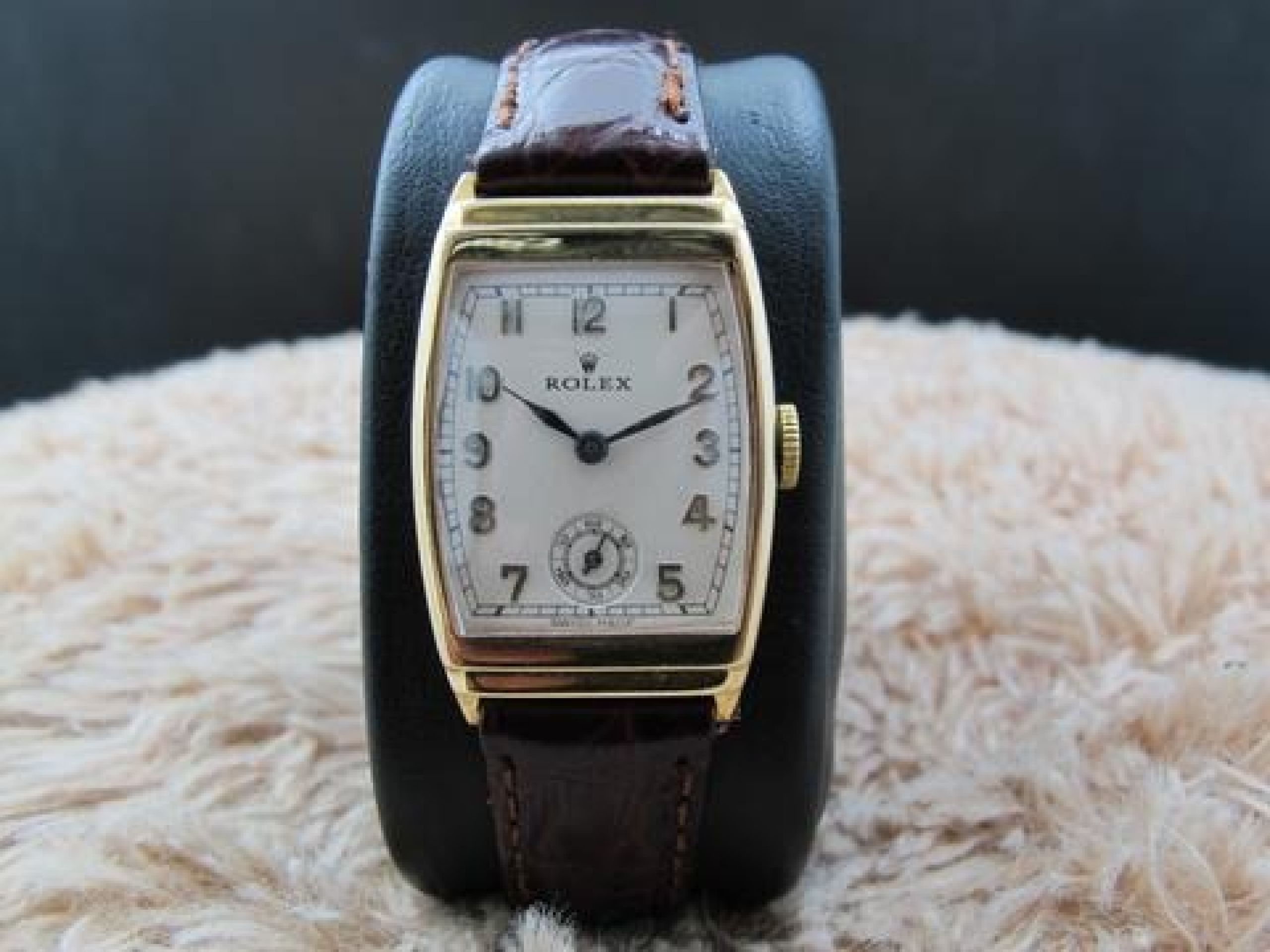 1937 ROLEX 9K YELLOW GOLD STEPPED TONNEAU CASE WITH SUB SECONDS