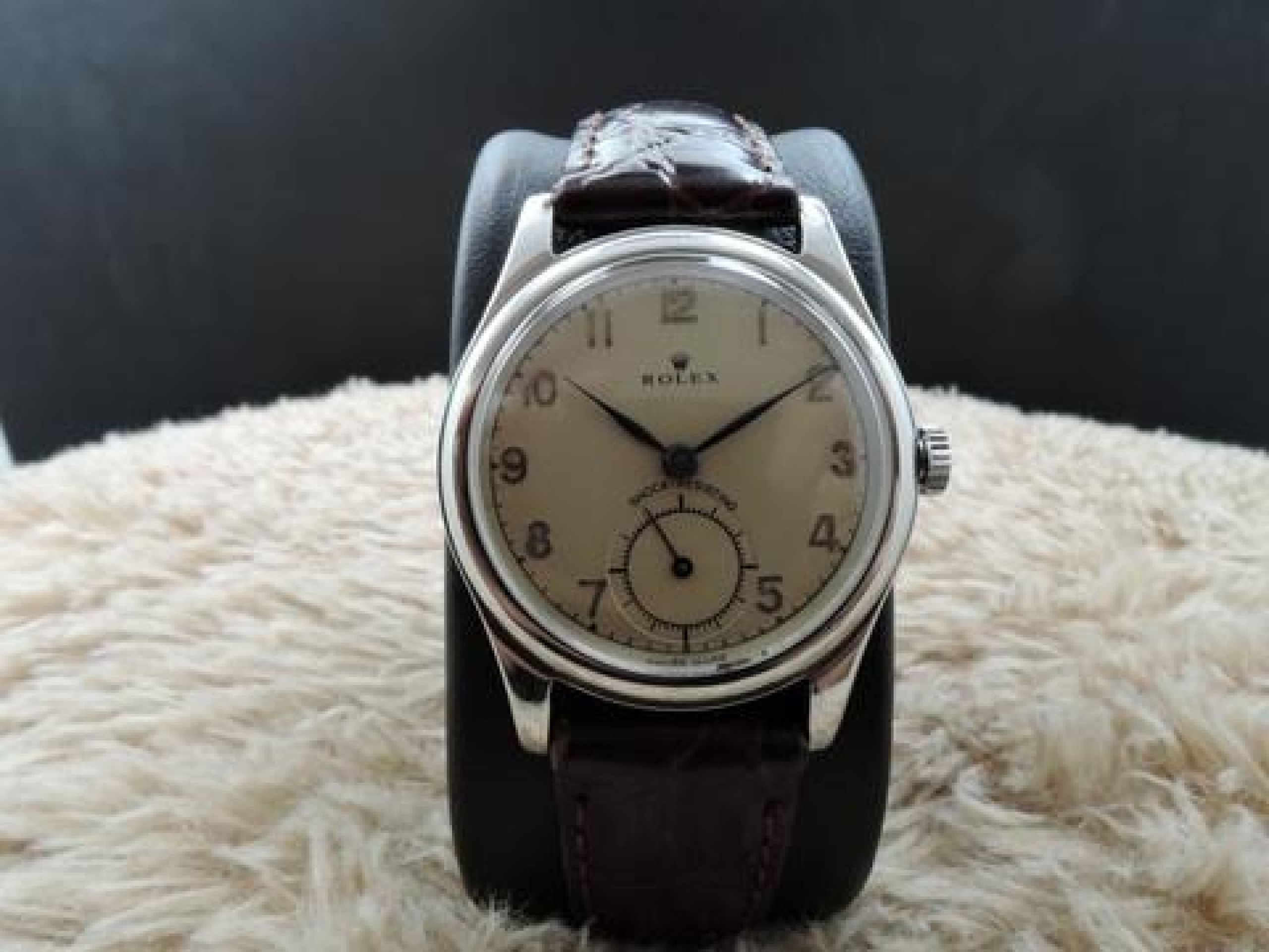 1947 ROLEX 3786 WITH CREAMY ARABIC DIAL AND SUB SECONDS SNAP BACK