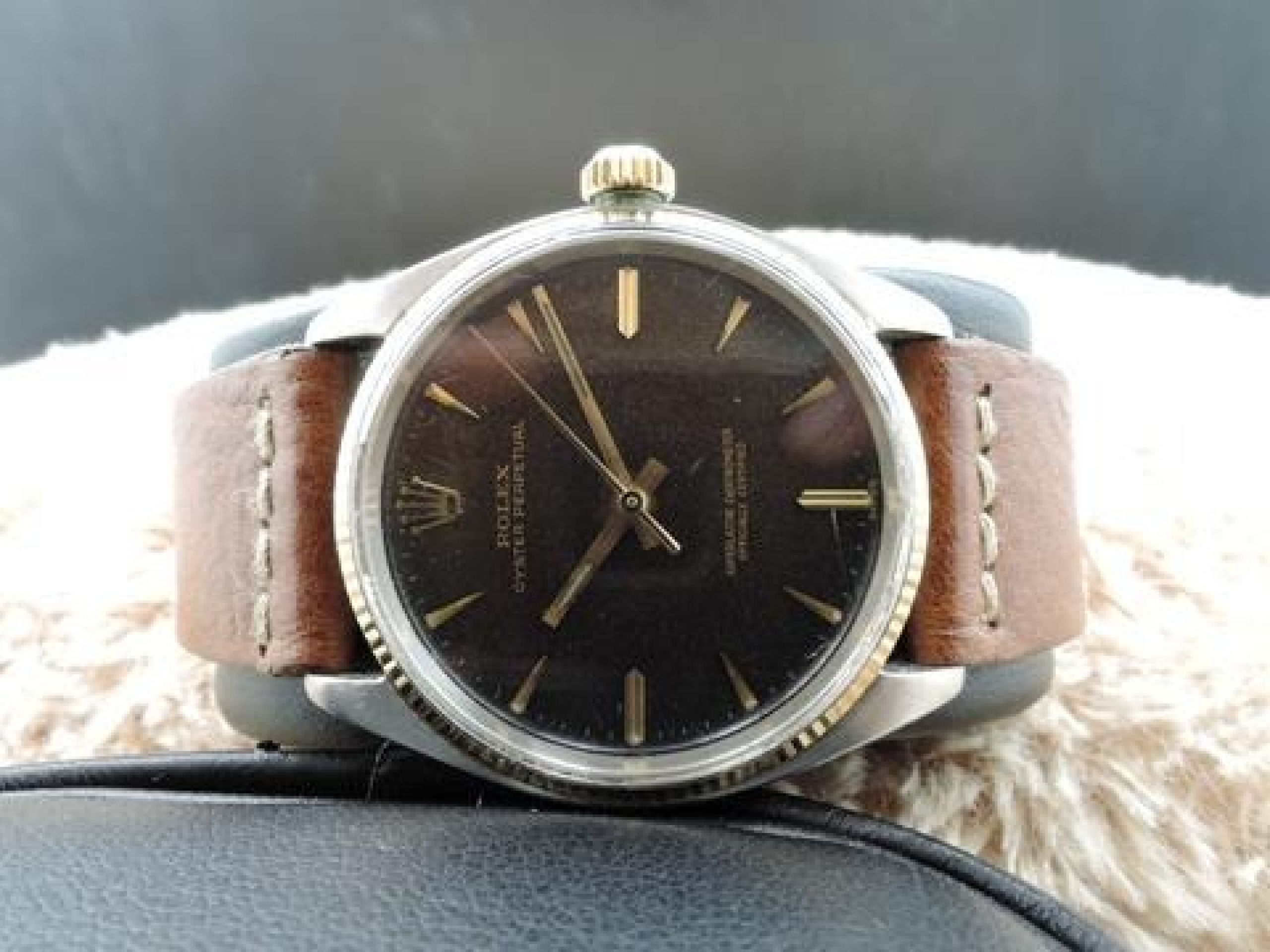 1961 ROLEX OYSTER PERPETUAL 1005 ORIGINAL TROPICAL GILT WITH FULL DOCUMENTS