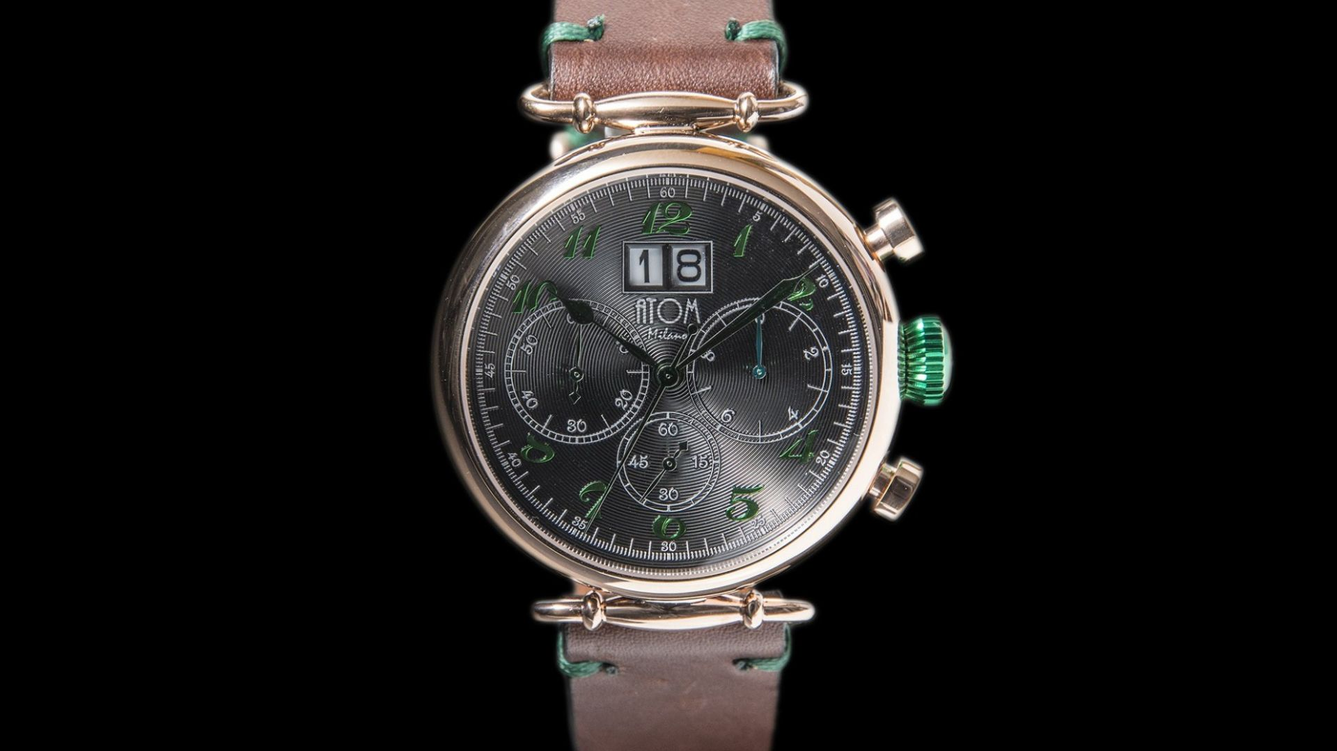 ATOM MILANO 46MM IN ROSE GOLD CASE AND LEATHER STRAP (GREEN)