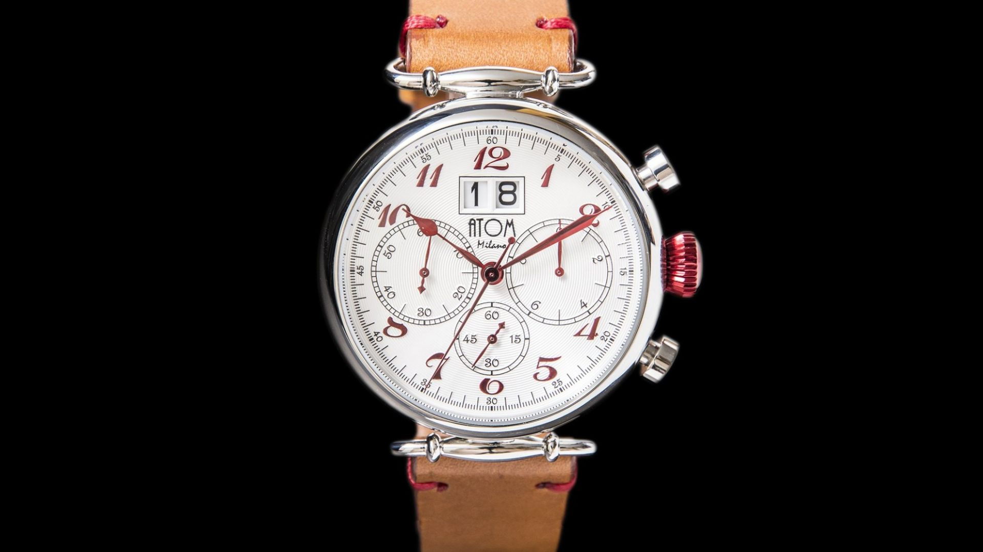 ATOM MILANO 46MM IN SILVER CASE AND LEATHER STRAP (RED)