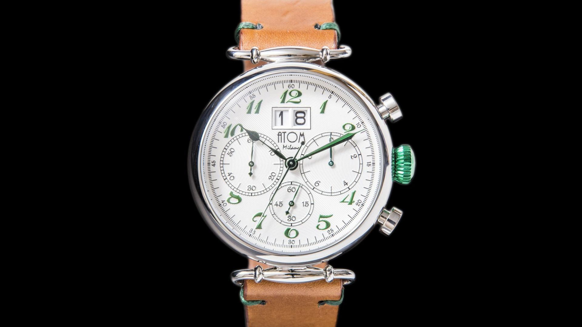 ATOM MILANO 46MM IN SILVER CASE AND LEATHER STRAP (GREEN)