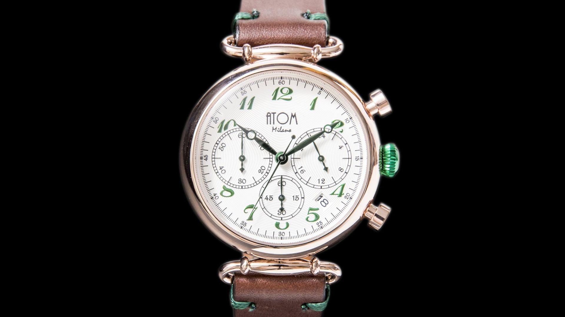 ATOM MILANO 40MM IN ROSE GOLD CASE AND LEATHER STRAP (GREEN)