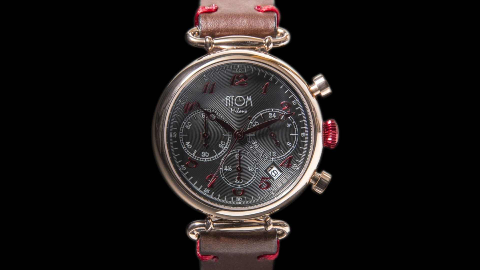 ATOM MILANO 40MM IN ROSE GOLD CASE AND LEATHER STRAP (RED)