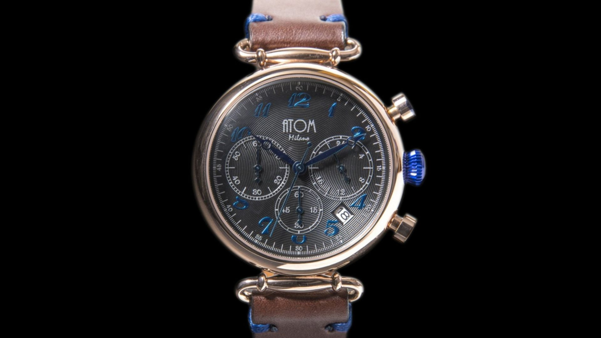 ATOM MILANO 40MM IN ROSE GOLD CASE AND LEATHER STRAP (BLUE)