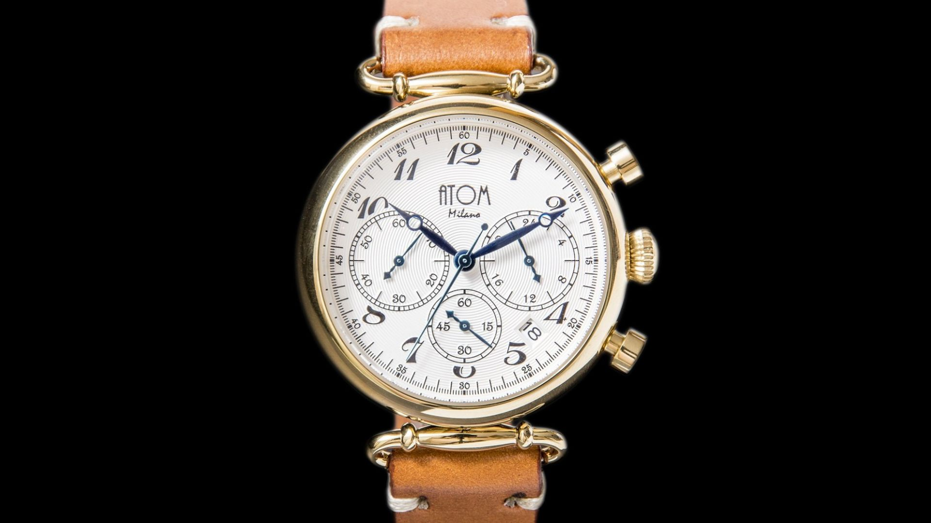 ATOM MILANO 40MM IN GOLD CASE AND LEATHER STRAP (GOLD)