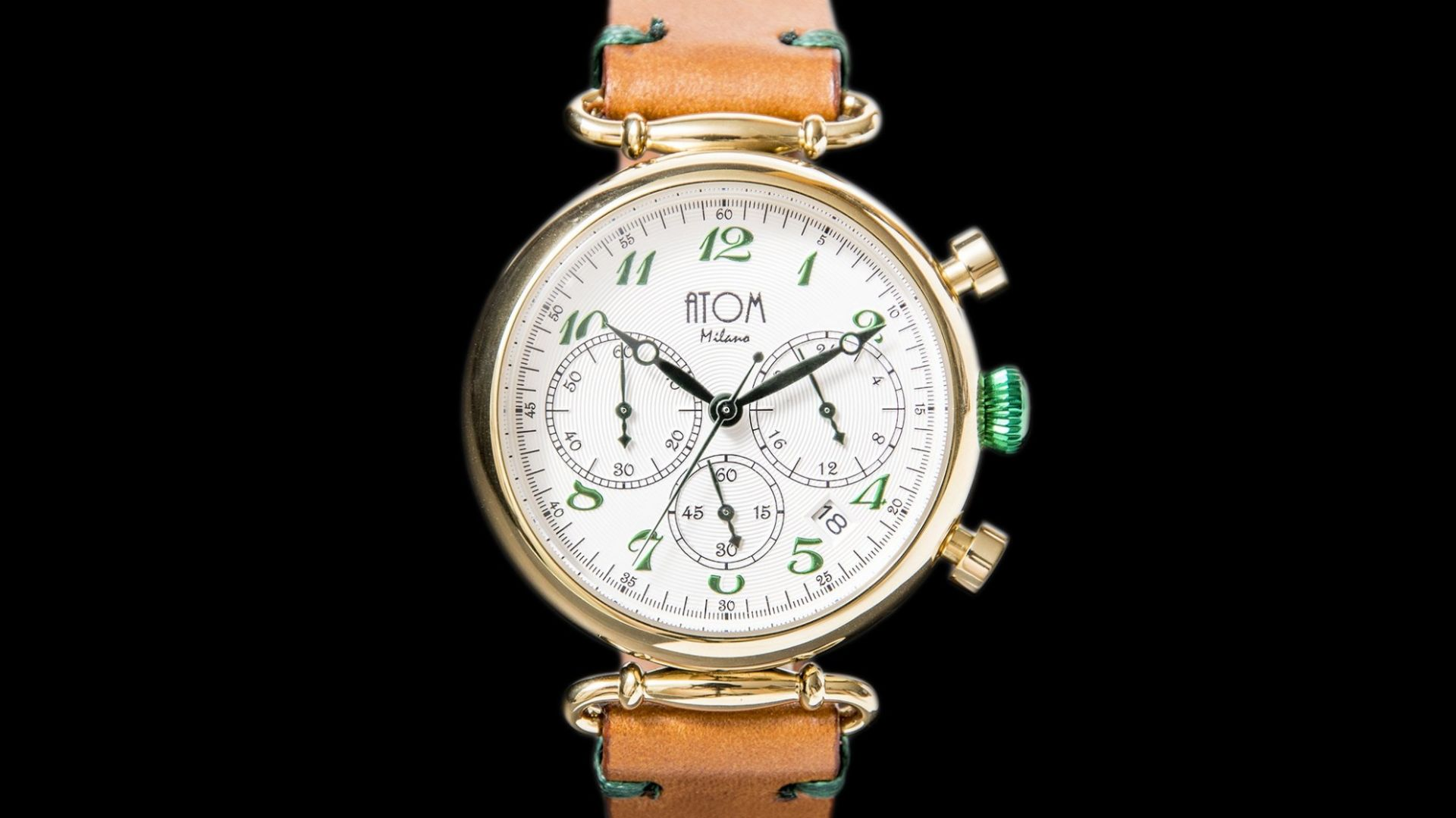 ATOM MILANO 40MM IN GOLD CASE AND LEATHER STRAP (GREEN)
