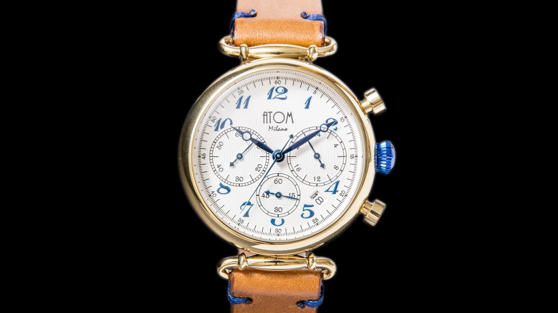 ATOM MILANO 40MM IN GOLD CASE AND LEATHER STRAP (BLUE)