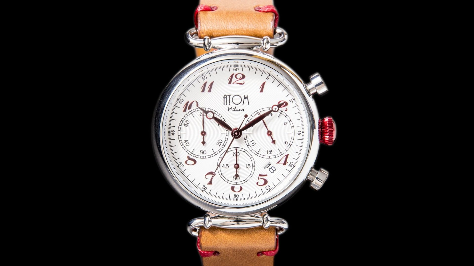 ATOM MILANO 40MM IN SILVER CASE AND LEATHER STRAP (RED)