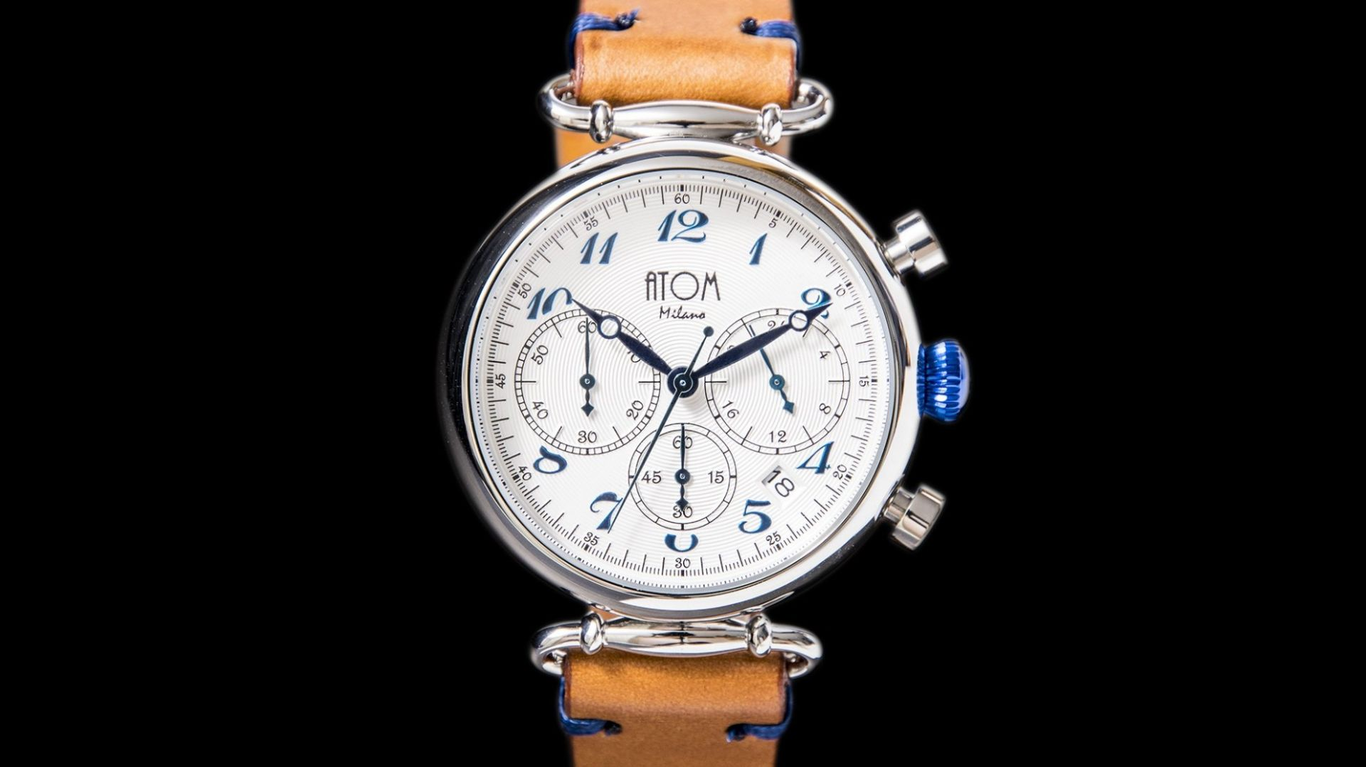 ATOM MILANO 40MM IN SILVER CASE AND LEATHER STRAP (BLUE)