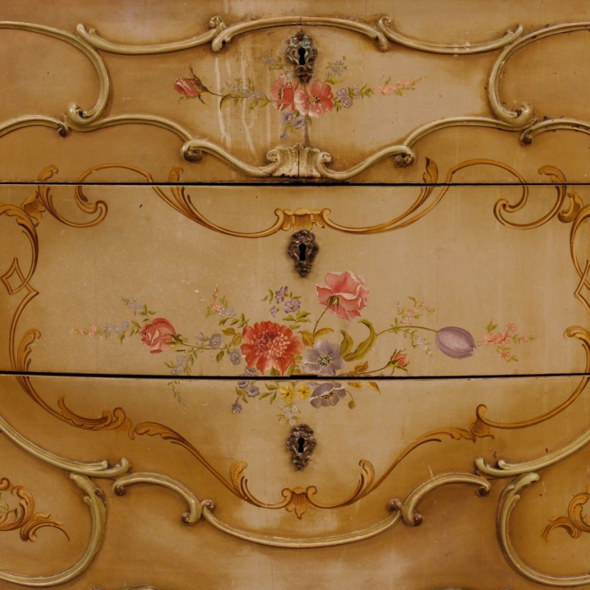 20th Century In Lacquered And Painted Wood Venetian Dresser, 1950
