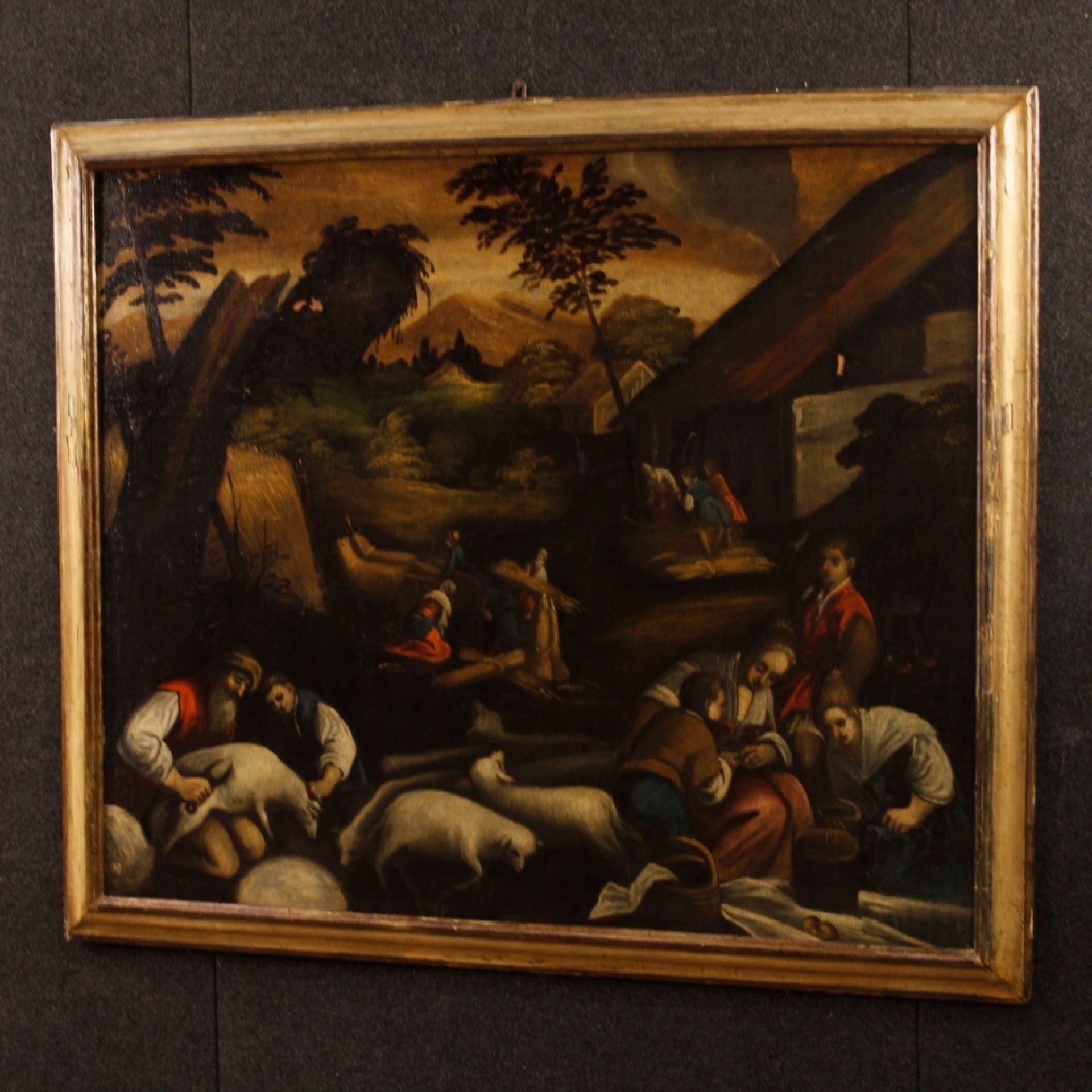 18th Century Antique Italian Oil On Canvas Painting With Landscape And Character