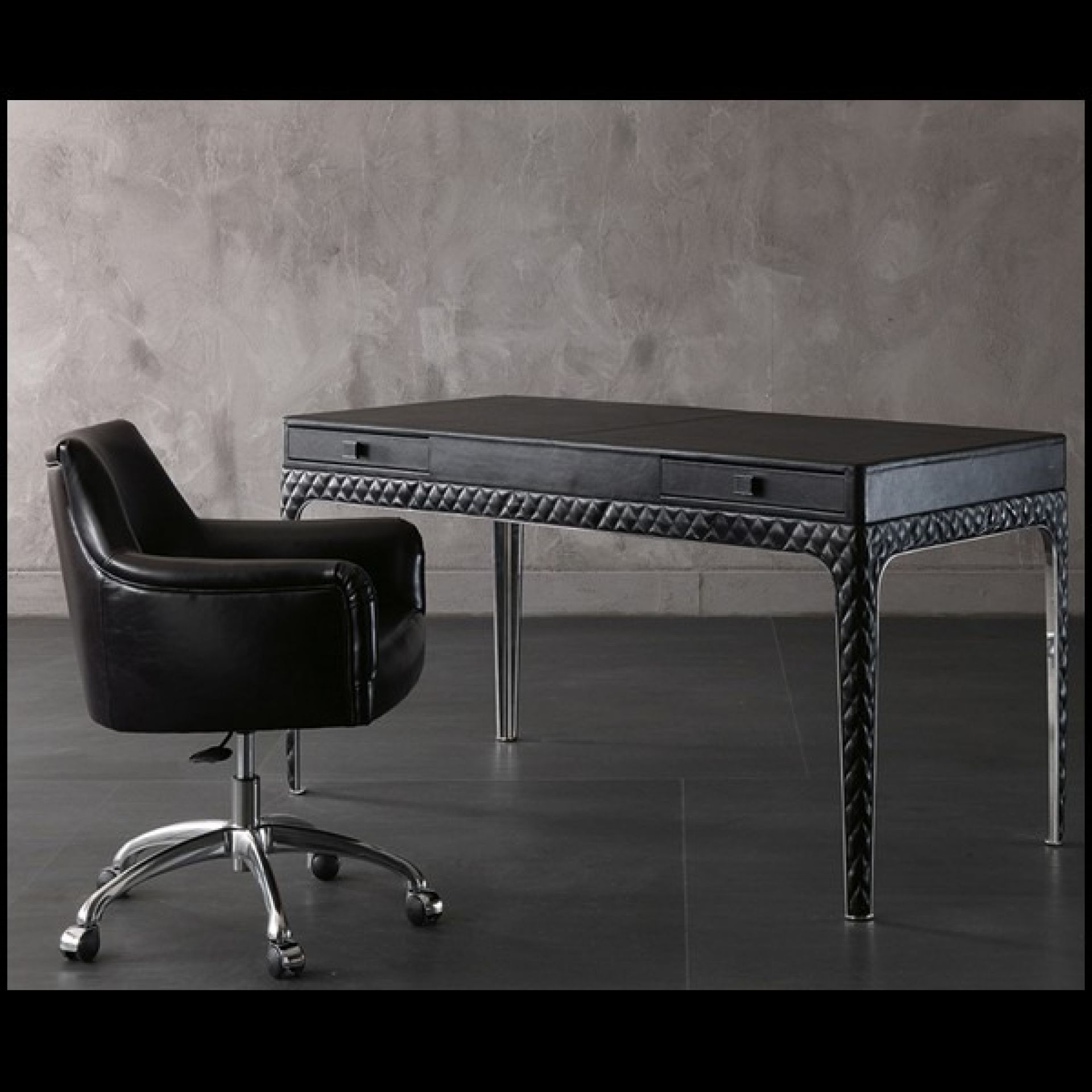 OFFICE WITH STRUCTURE IN STEEL AND PADDED LEATHER 150-CORTO