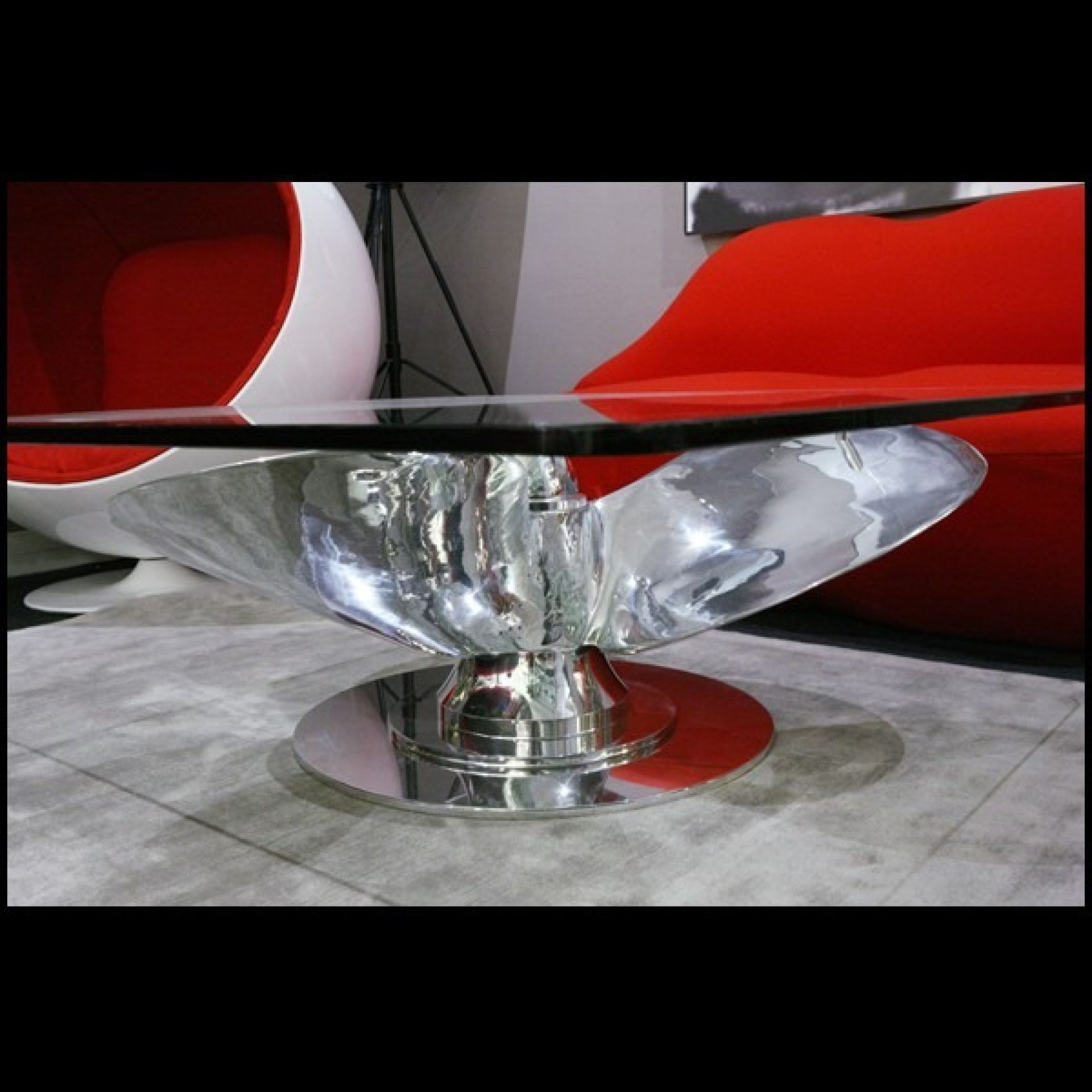 LOW PROFILE POLISHED ALUMINUM ALLOY THREE-BLADE PROPELLER TABLE PC-NAVY BOAT PAT