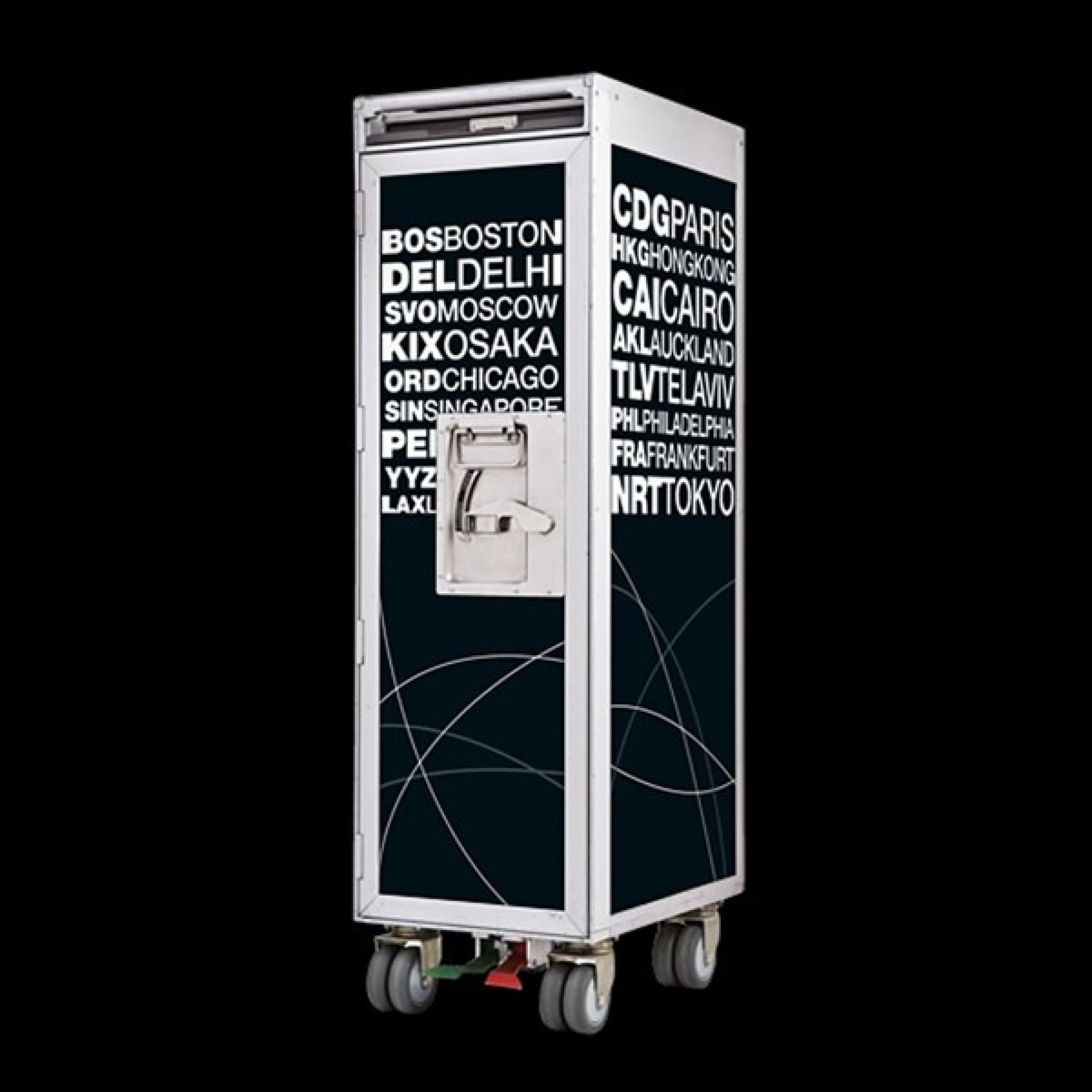 AIRLINER BAR TROLLEY WITH NAMES OF INTERNATIONAL AIRPORTS