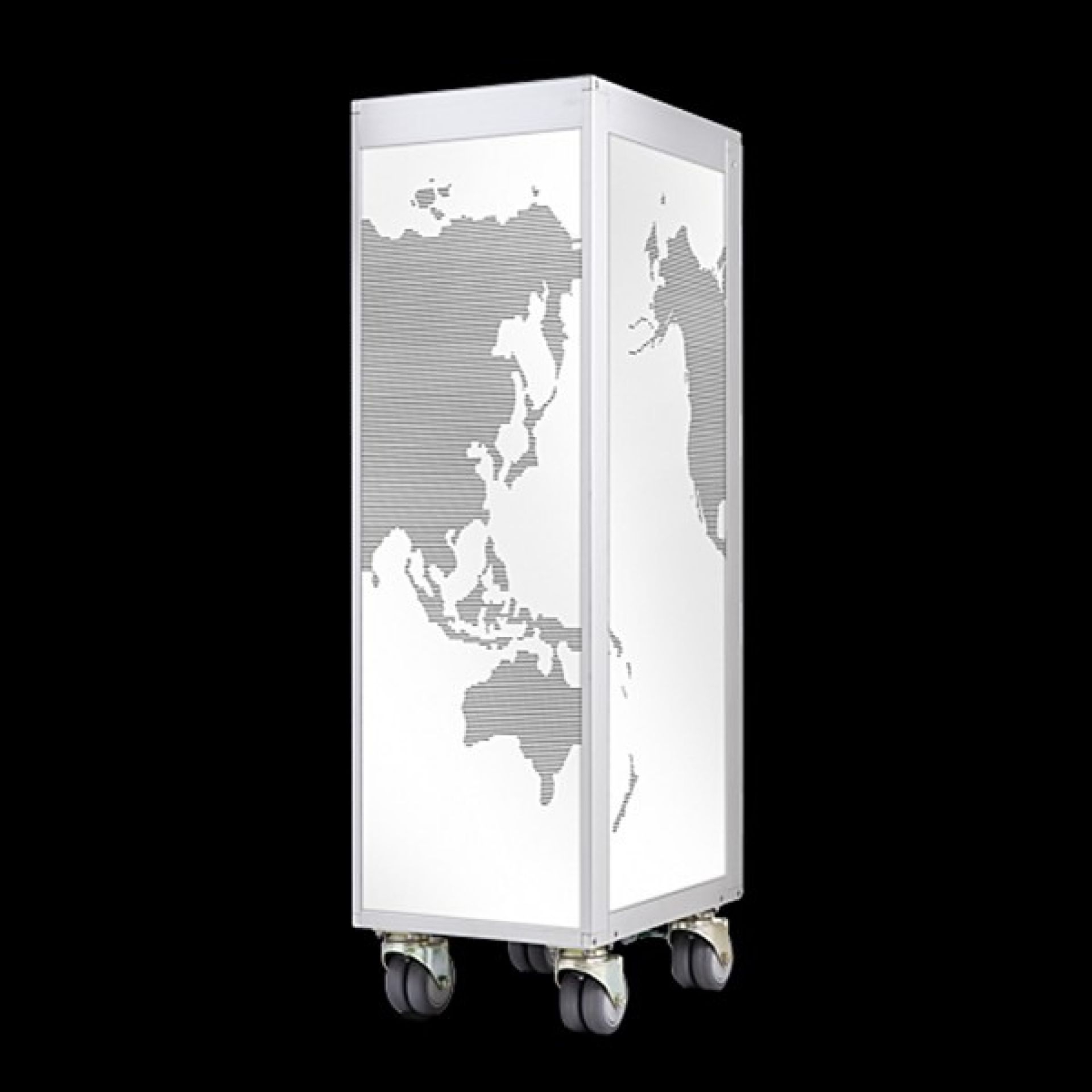 UNIQUE DESIGN AIRLINER BAR CART WITH WORLD MAP ON BLACK OR WHITE BACKGROUND