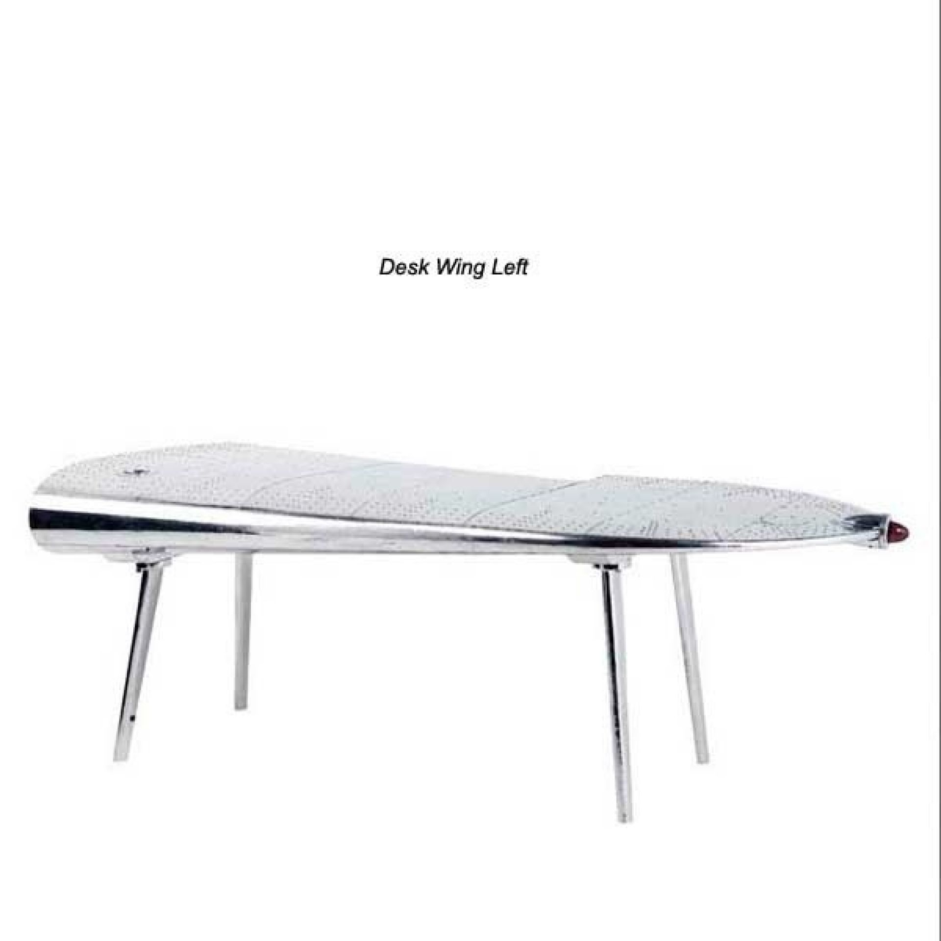 LEFT WING AIRCRAFT DESK WITH POLISHED ALUMINUM STRUCTURE 24-DESK WING