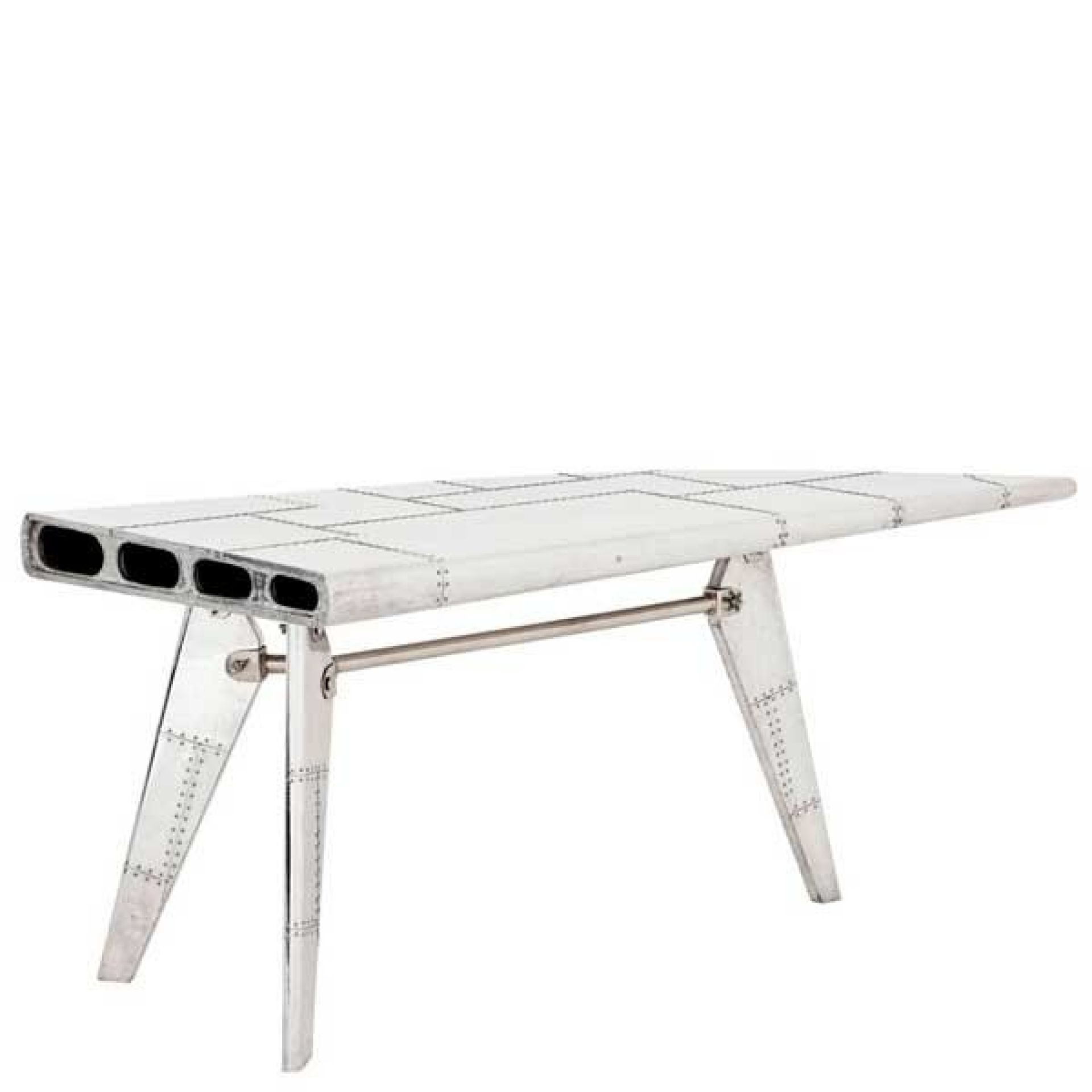 STRAIGHT WING AIRCRAFT DESK WITH RIVETED AND POLISHED ALUMINUM STRUCTURE 24-RIVE