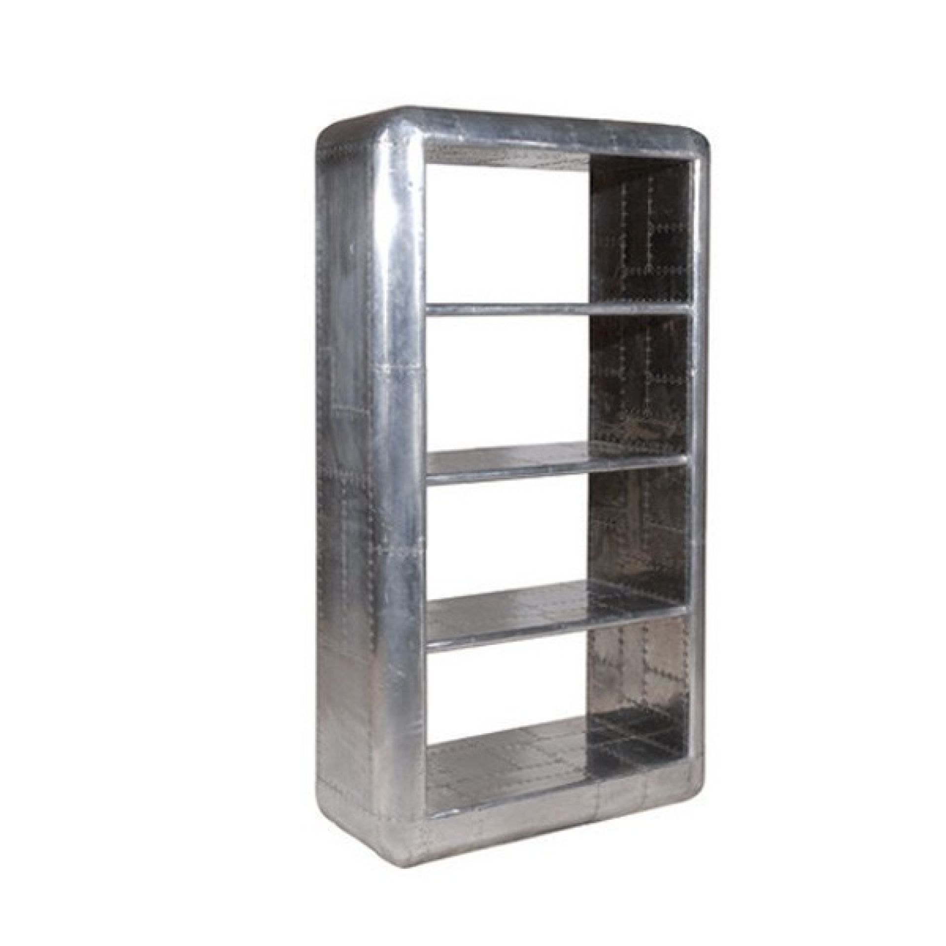 SHELF WITH STRUCTURE IN POLISHED ALUMINUM AND RIVETED 22-DAKOTA