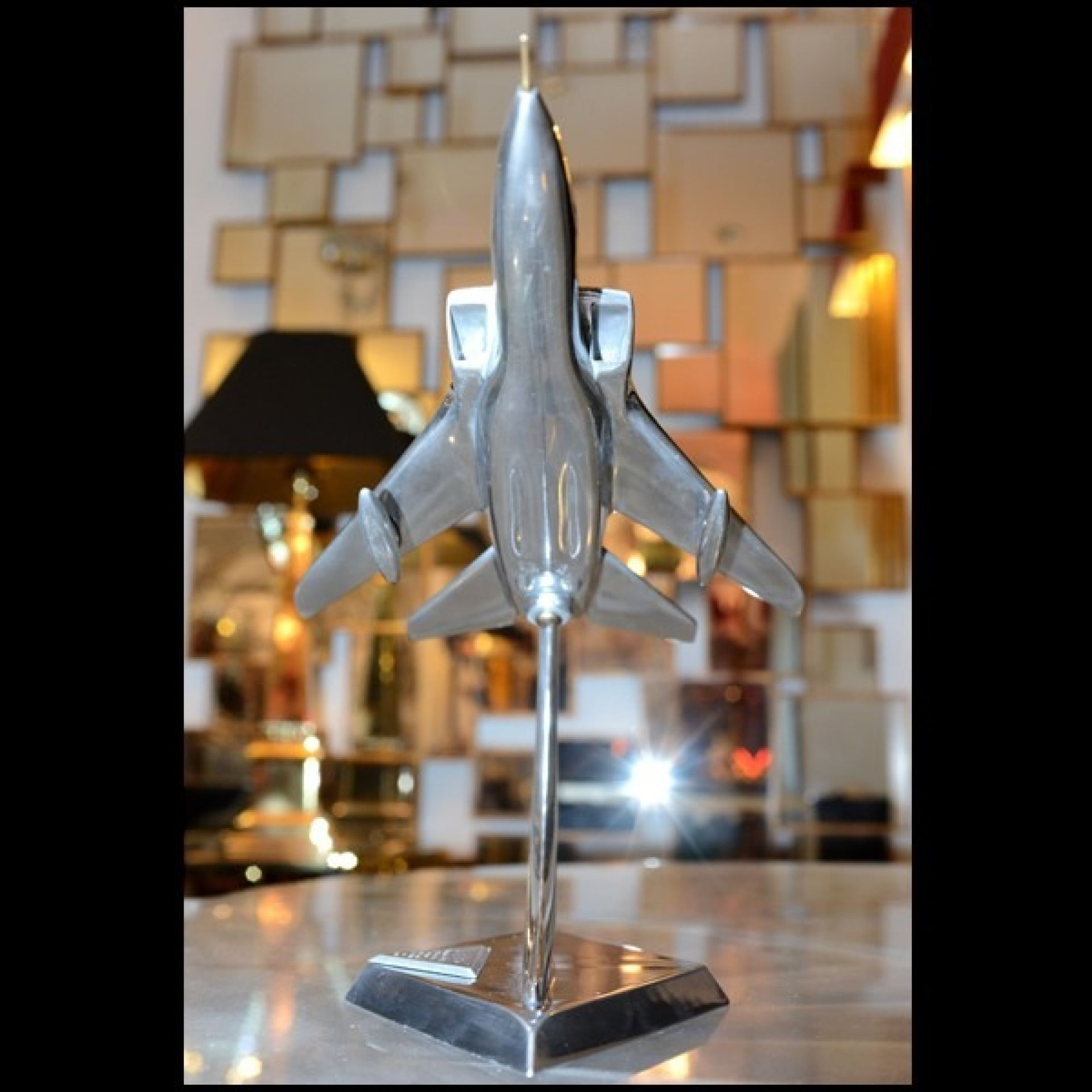 1974 TORNADO FIGHTER PLANE MODEL IN POLISHED ALUMINUM ON 113-TORNADO BASE