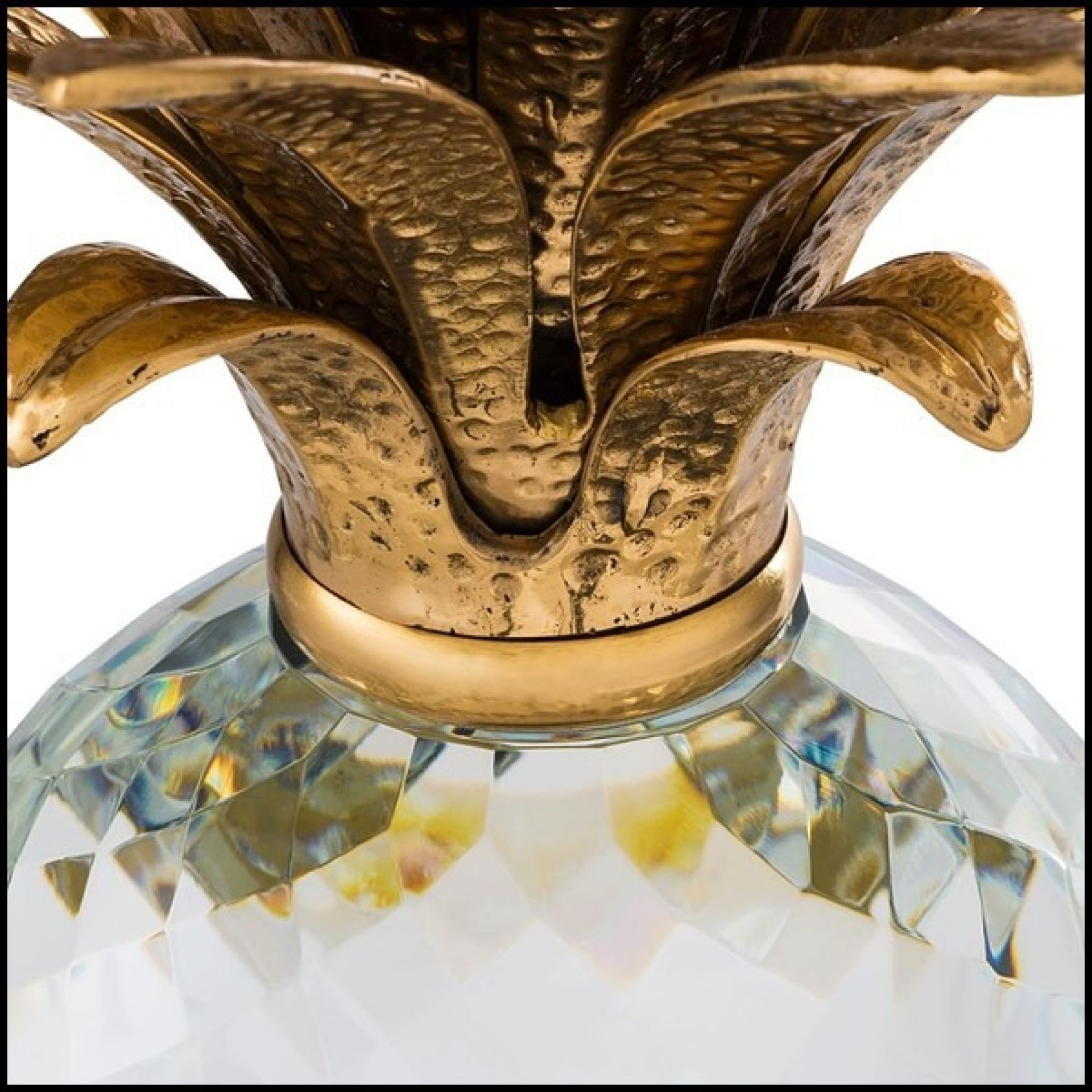 DECORATIVE OBJECT IN CLEAR GLASS WITH BRASS LEAVES 24-PINEAPPLE