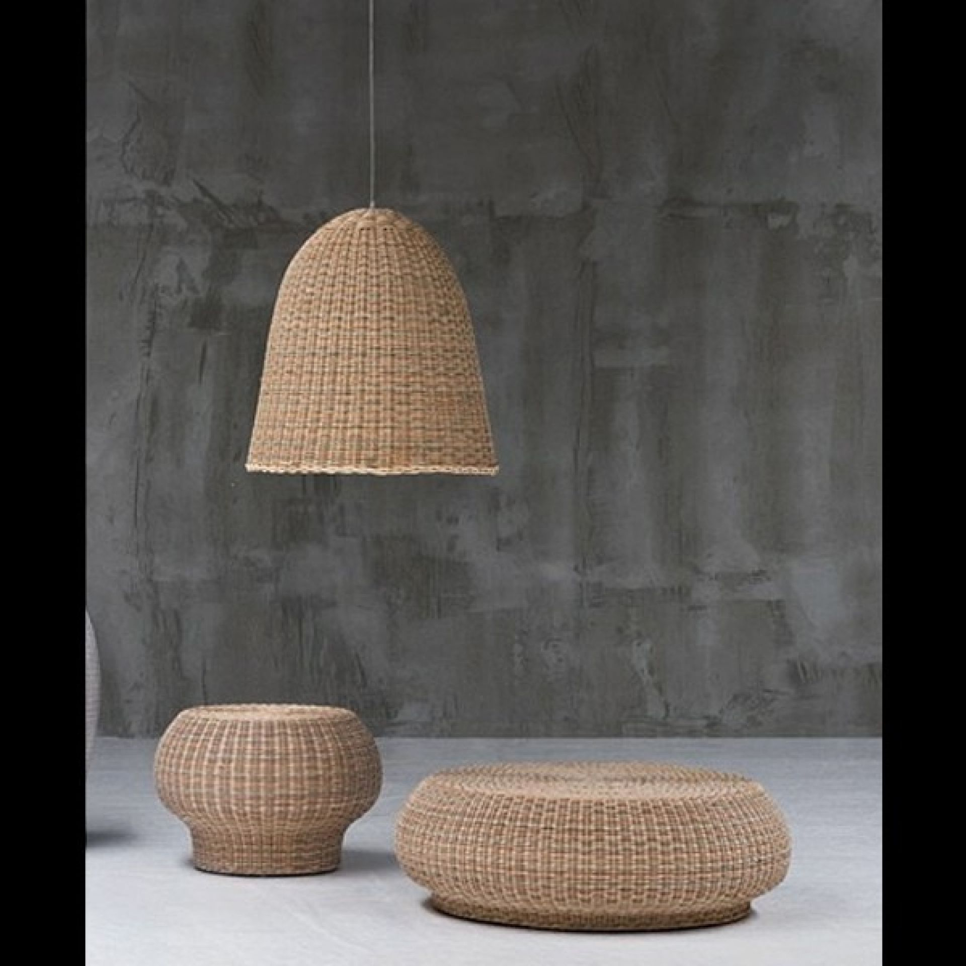 MIXED NATURAL RATTAN PILLOW SUSPENSION 30-BELL 95
