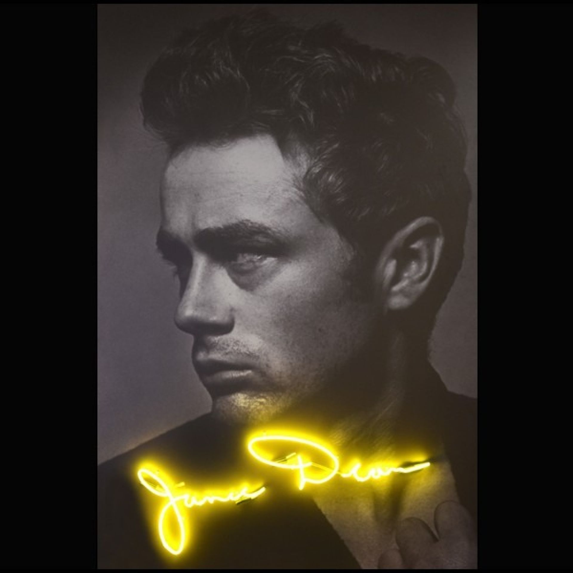 WALL DECORATION PHOTOGRAPHY ON DIBOND YELLOW TUBE LIGHTING NEON PC-JAMES DEAN