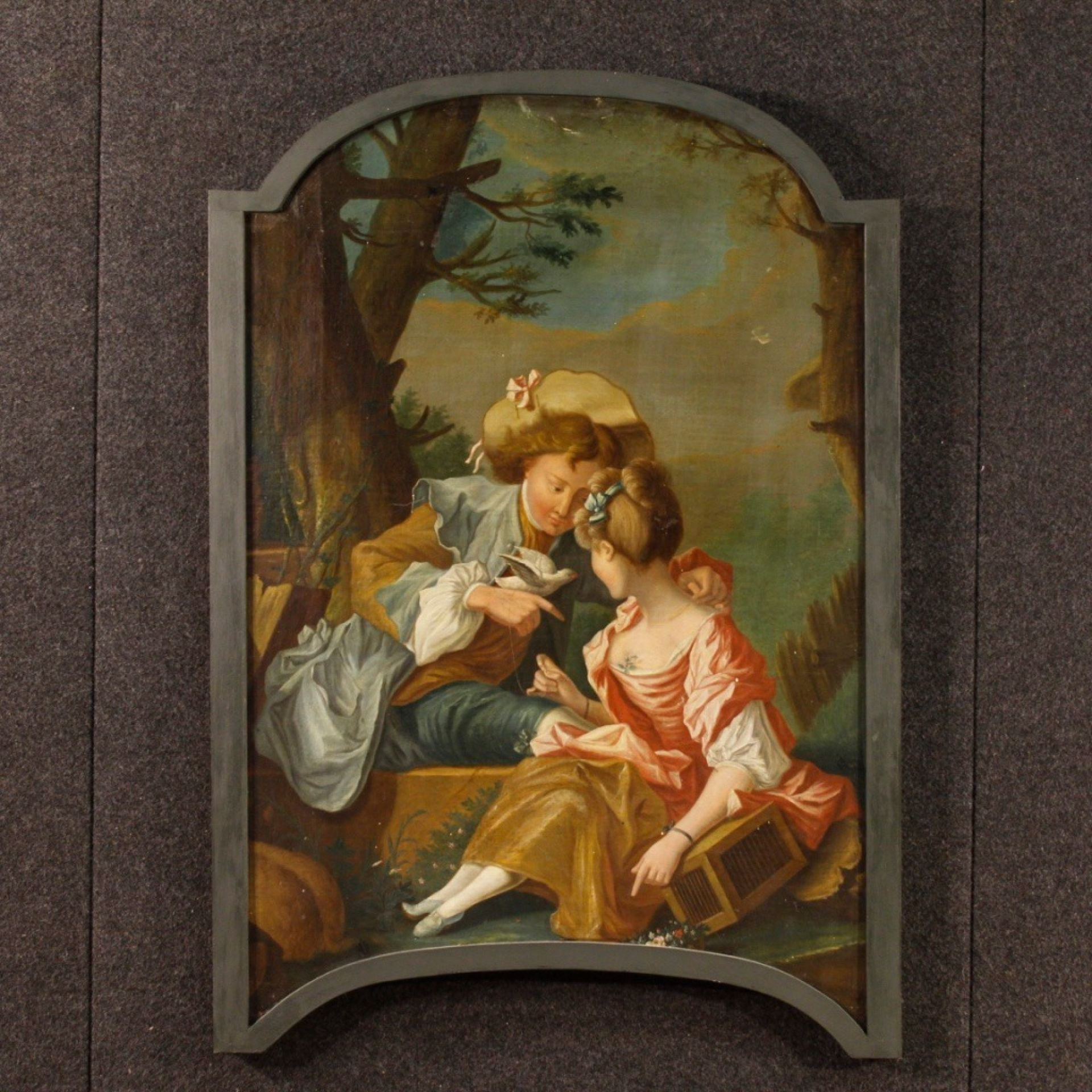 19th Century Oil on Canvas French Painting Romantic Scene with Characters, 1820