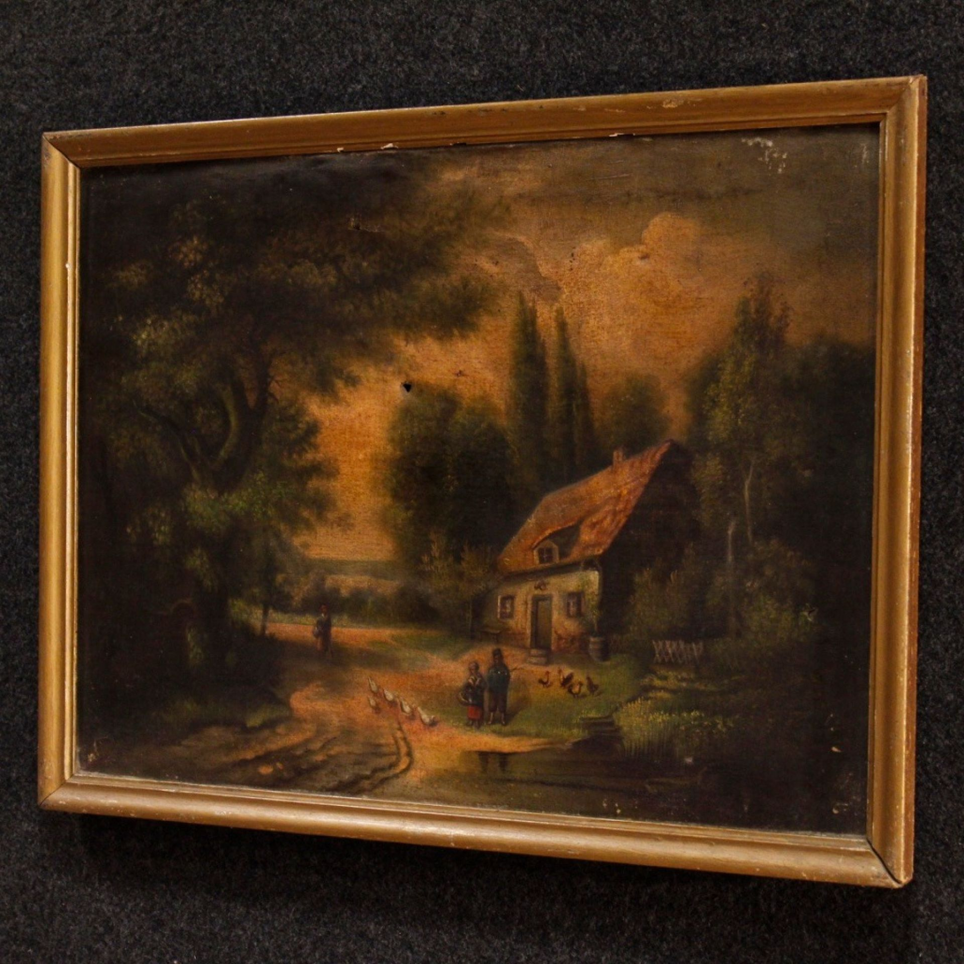 19th Century Oil On Canvas Spanish Antique Signed Landscape Painting, 1880