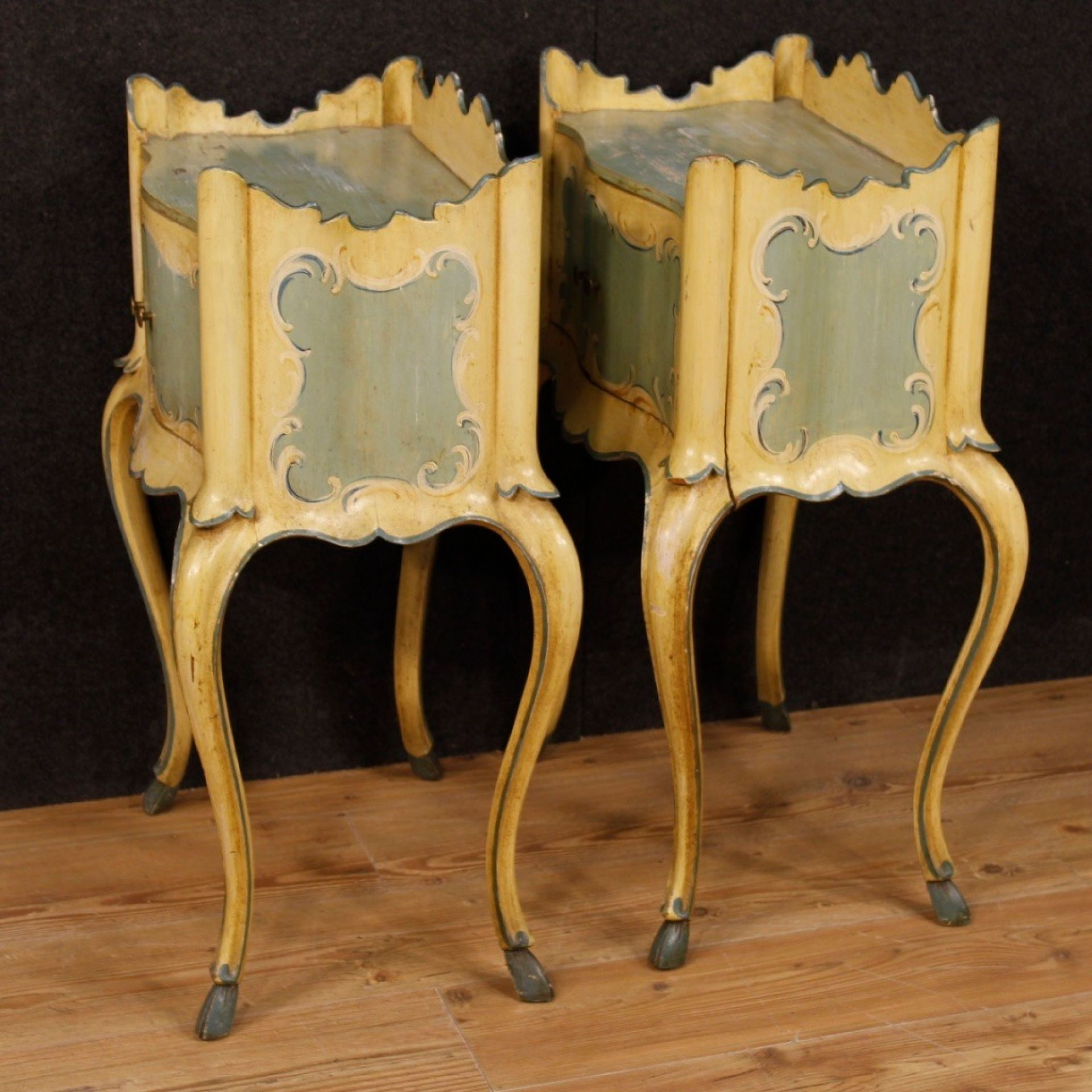 20th Century Lacquered and Painted Wood Pair of Venetian Bedside Tables, 1950