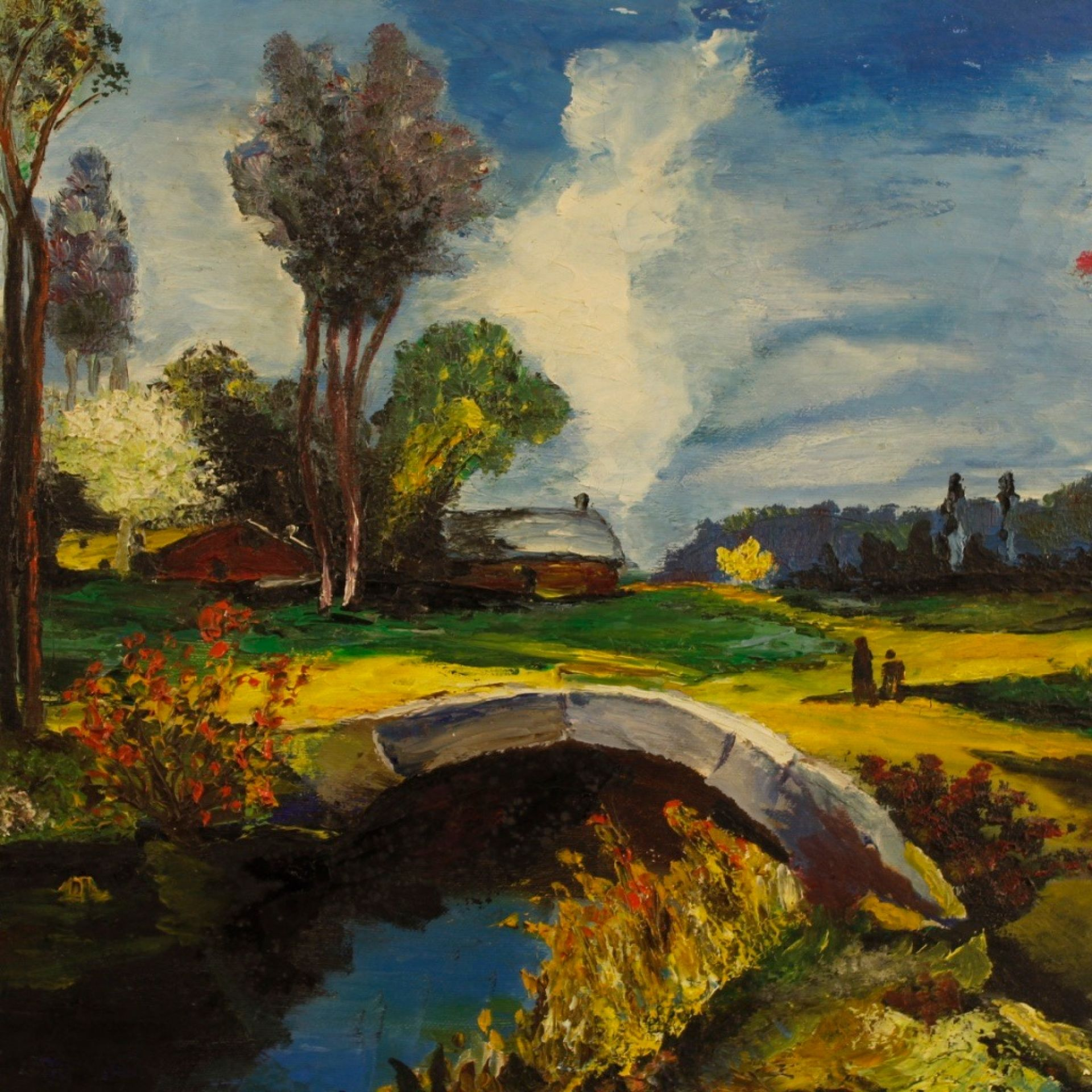20th Century Oil On Canvas French Impressionist Style landscape Painting, 1960