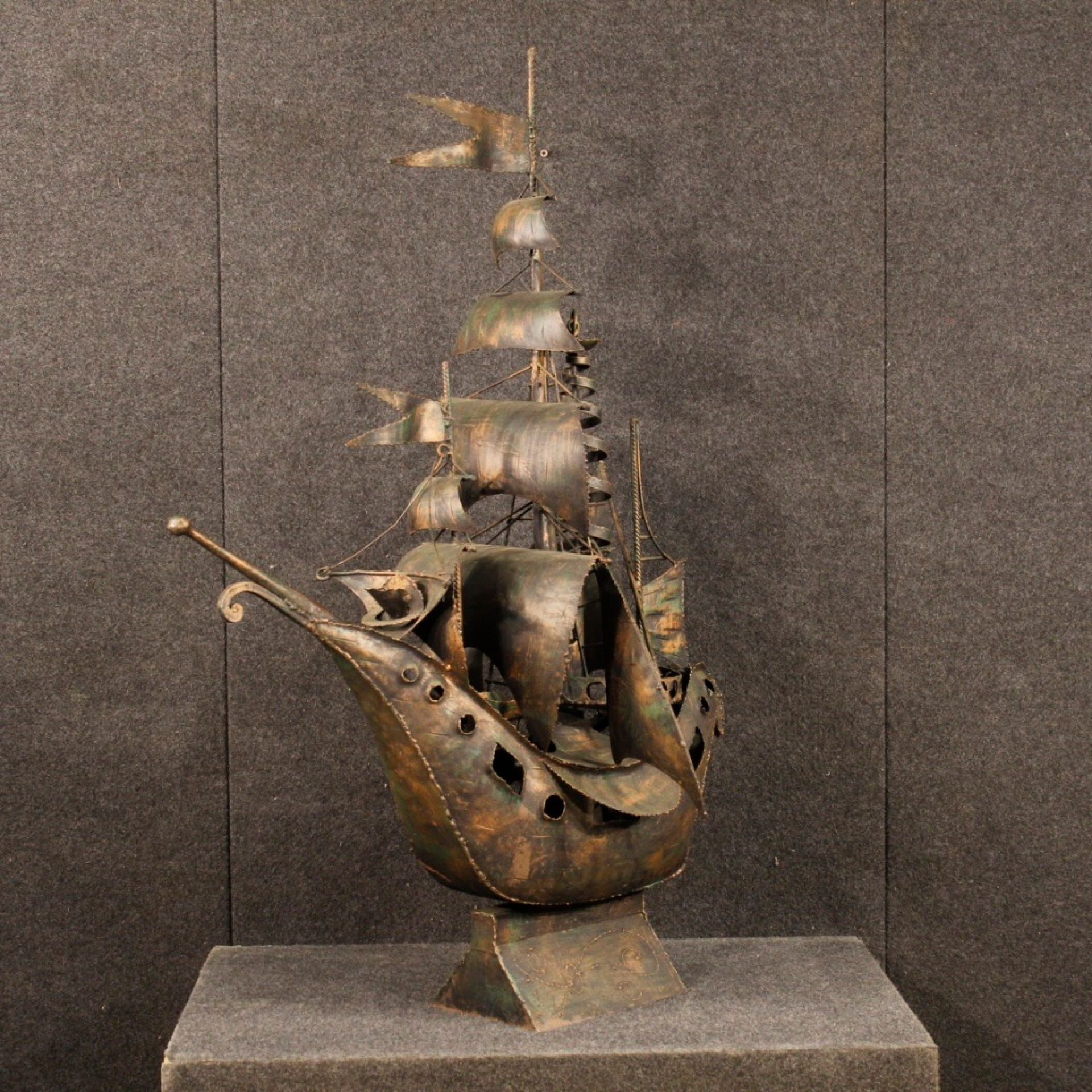 20th Century Copper-Colored Metal Italian Sailing Ship Sculpture, 1970